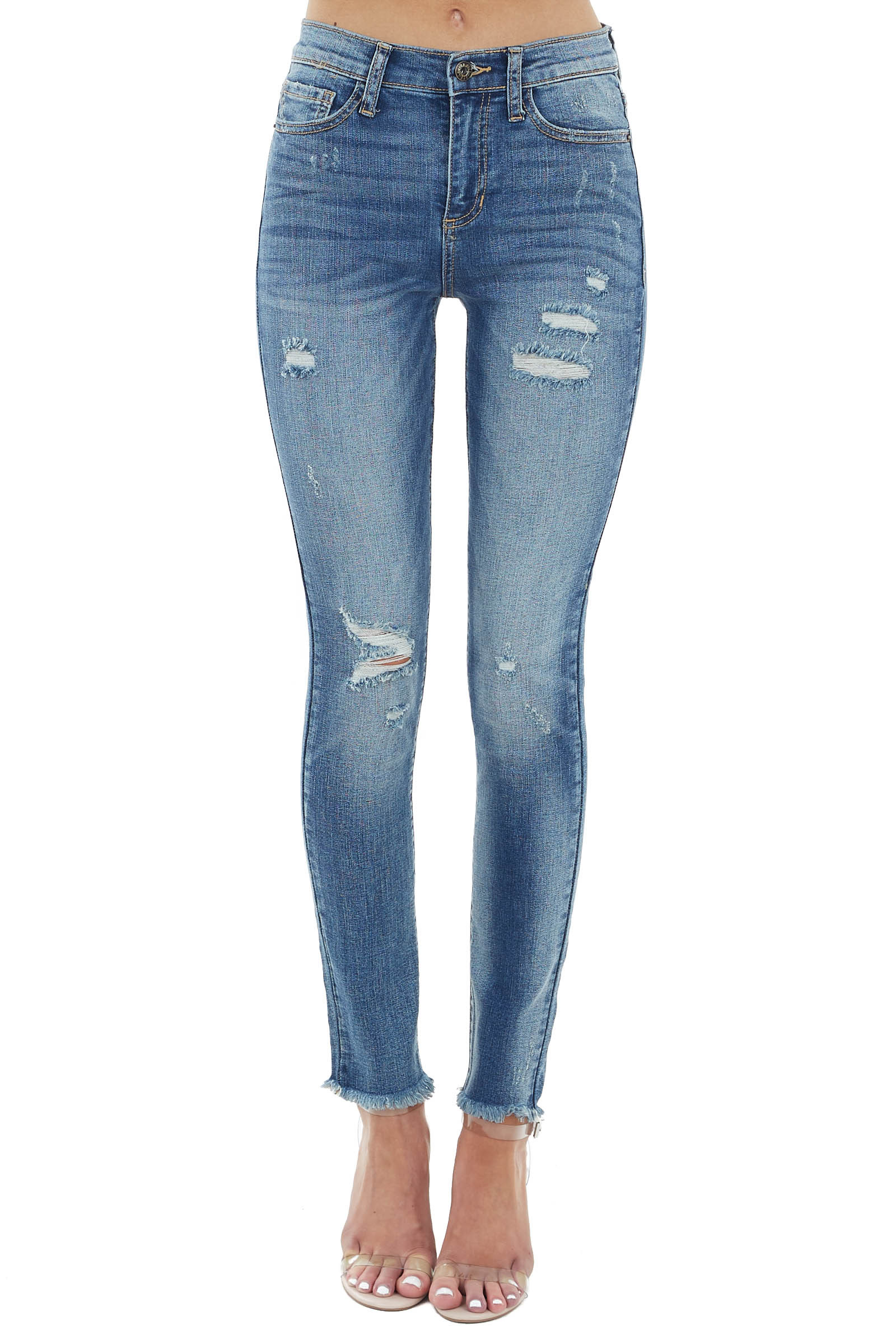 Medium Wash Mid Rise Jeans with Frayed Hem and Distressing