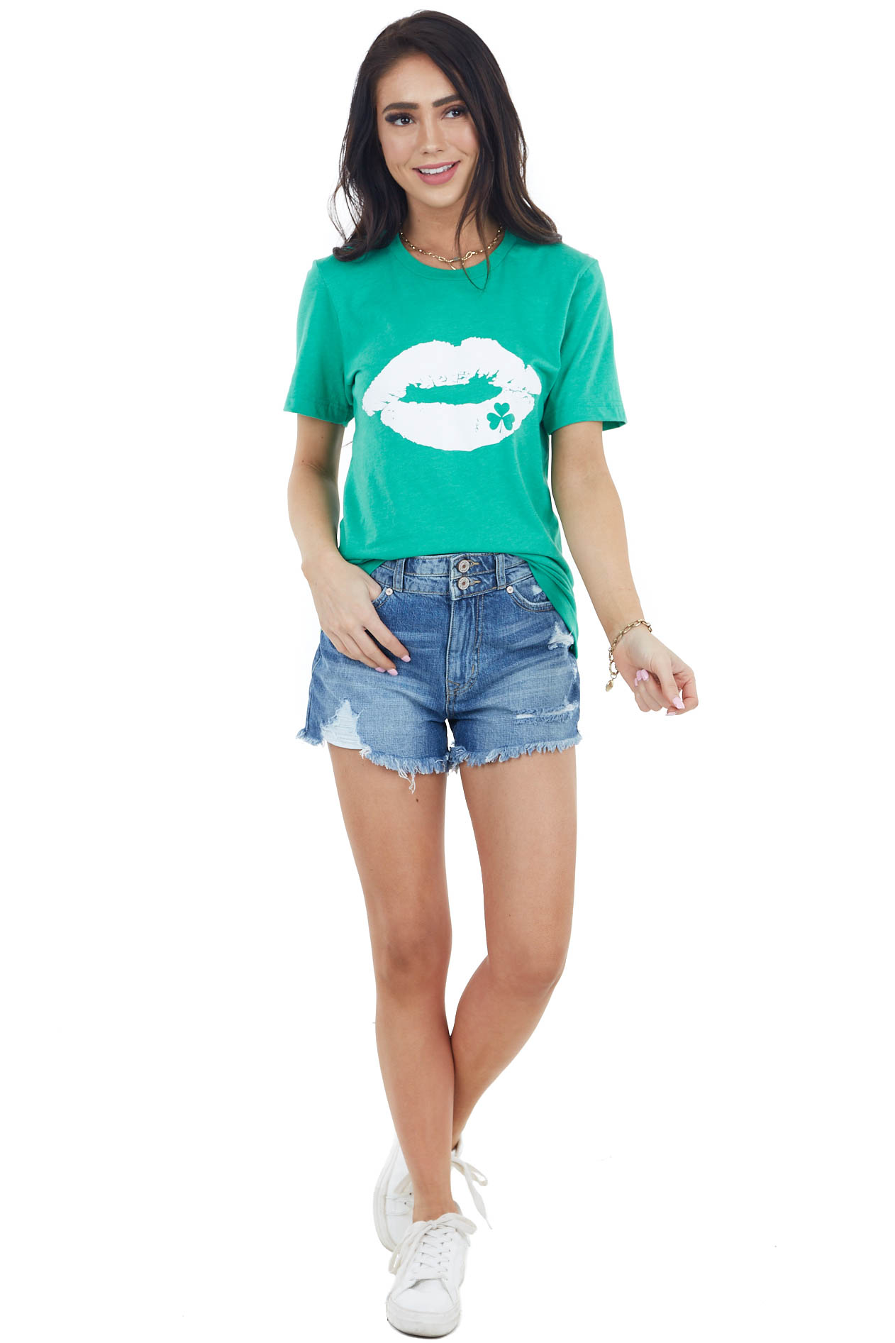 Shamrock Green Lip and Clover Graphic Tee with Short Sleeves