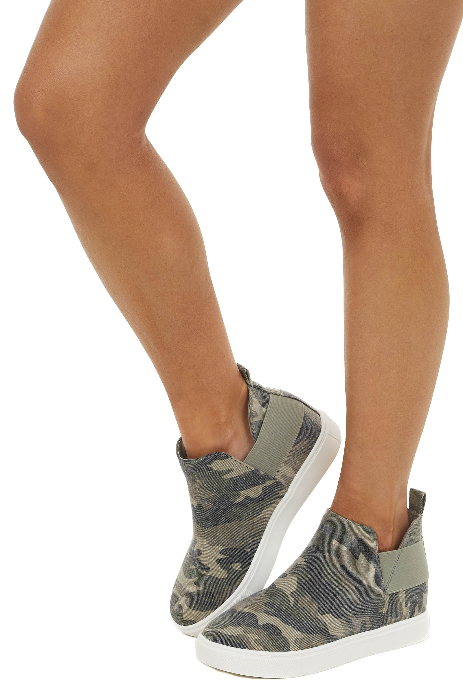 Olive Camo Print Wedge Sneaker with Elastic Band Detail