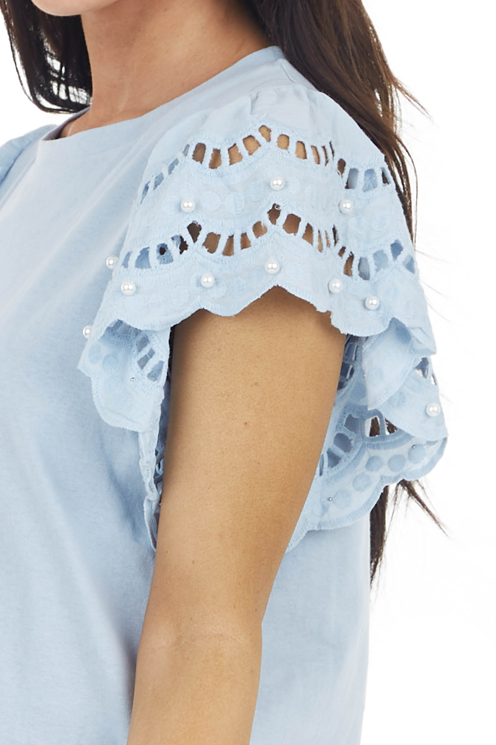 Baby Blue Top with Crochet Short Sleeves and Pearl Detail