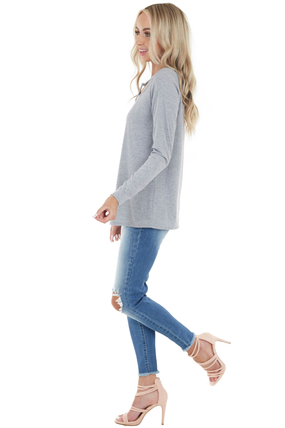 Dove Grey Long Sleeve Textured Knit Top with Chest Cutout