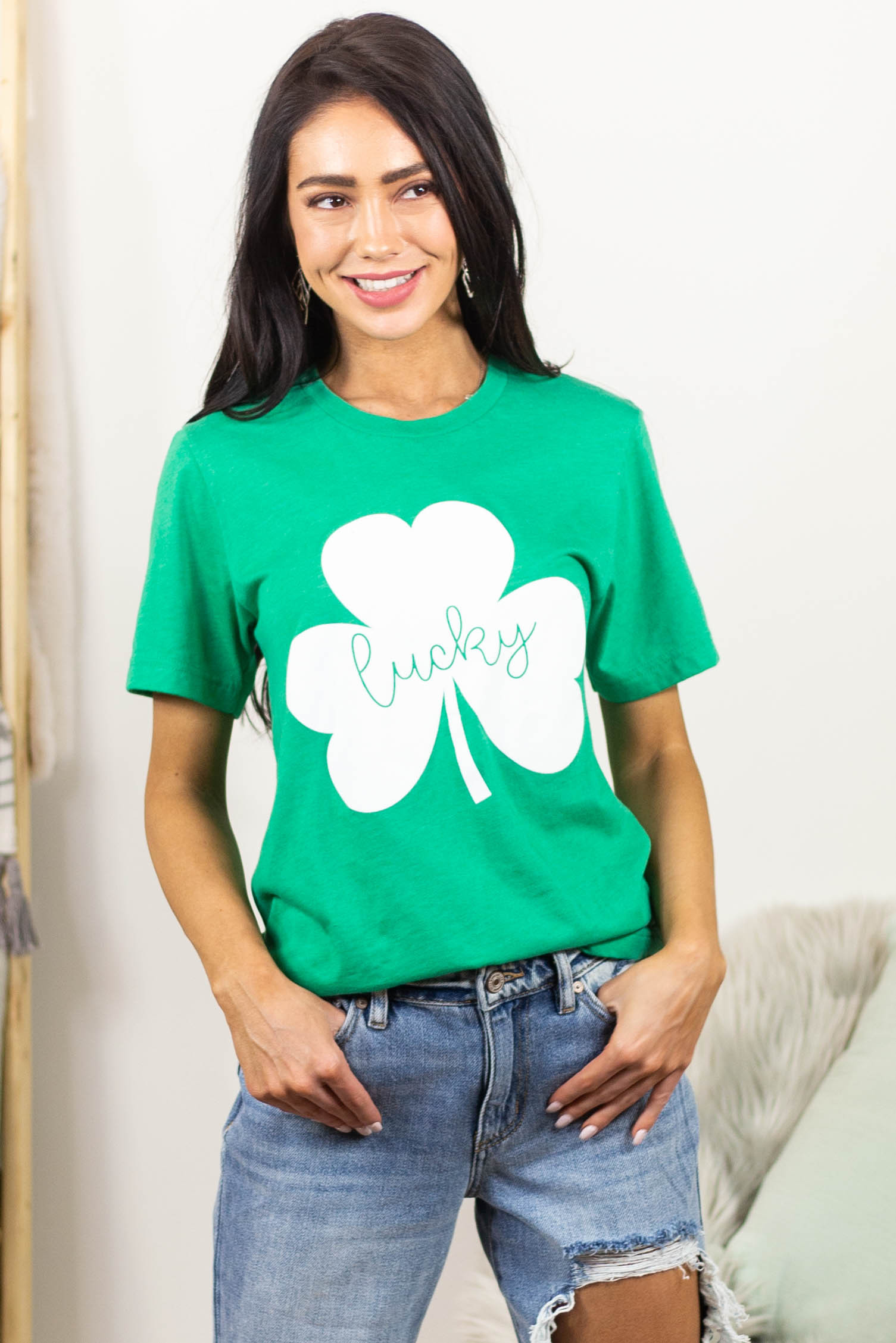 Shamrock Green 'Lucky' Clover Graphic Tee with Short Sleeves