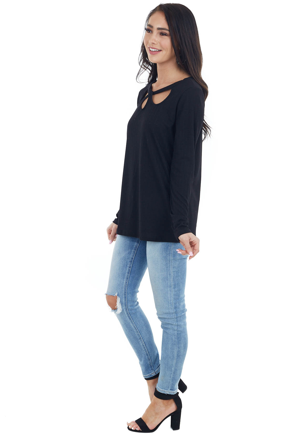 Black Long Sleeve Textured Knit Top with Chest Cutout