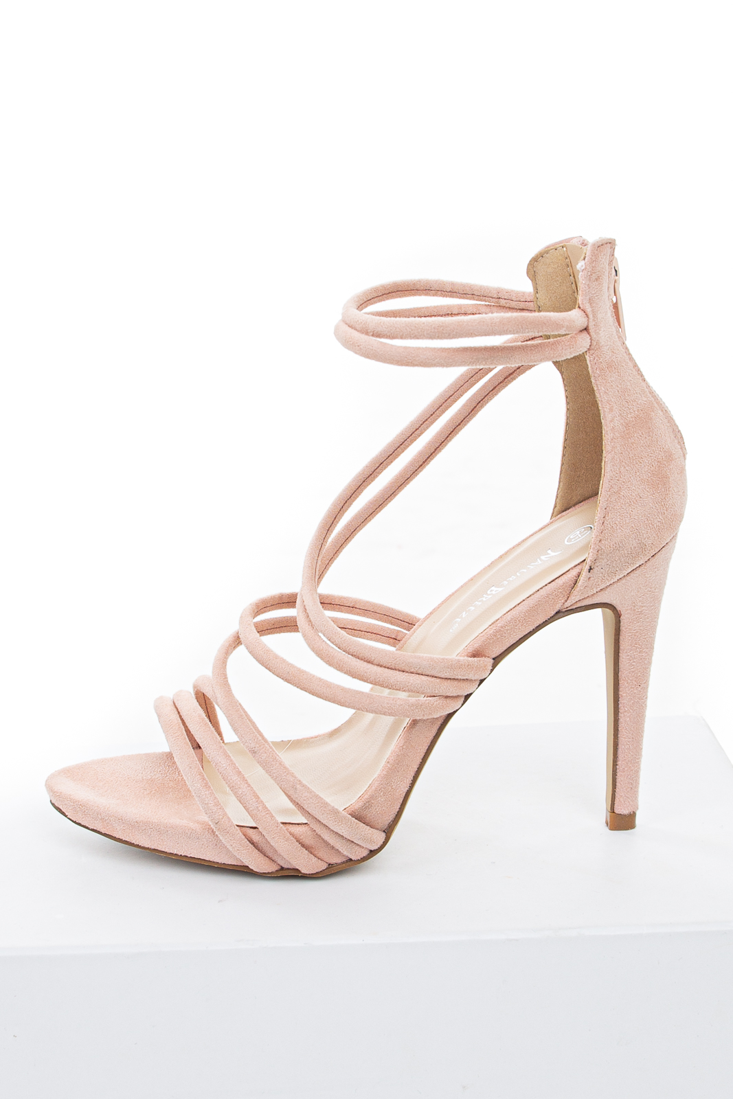 Blush Faux Suede Strappy High Heel with Zipper Closure