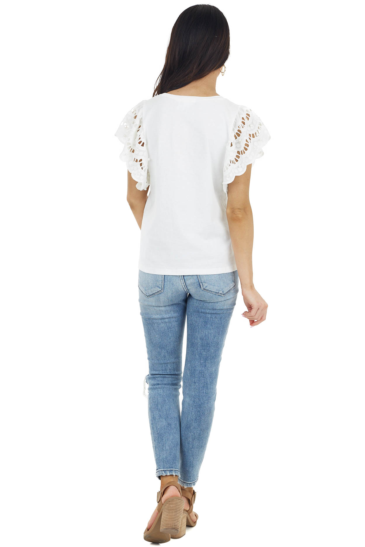 Off White Top with Crochet Short Sleeves and Pearl Detail