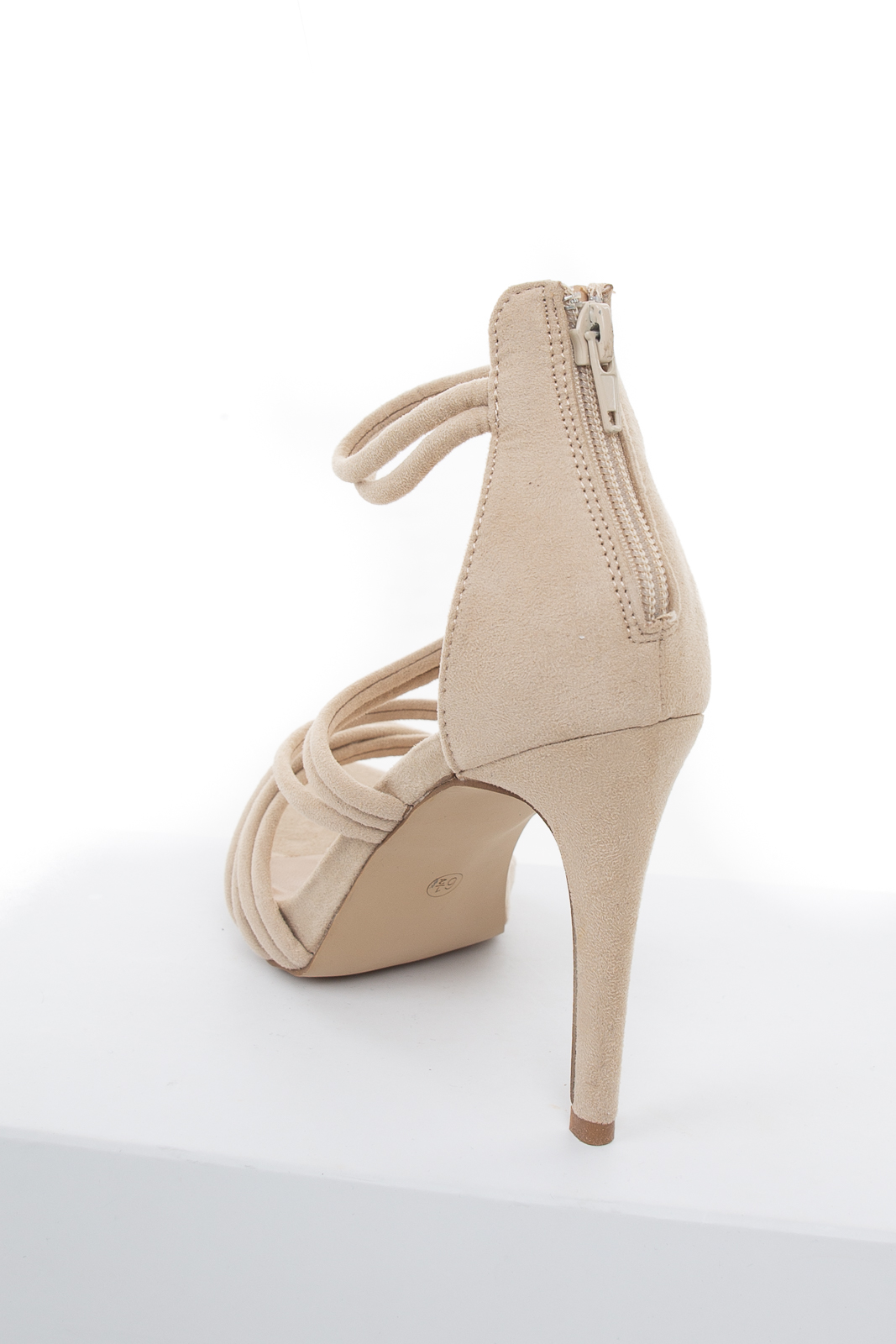 Latte Faux Suede Strappy High Heel with Zipper Closure