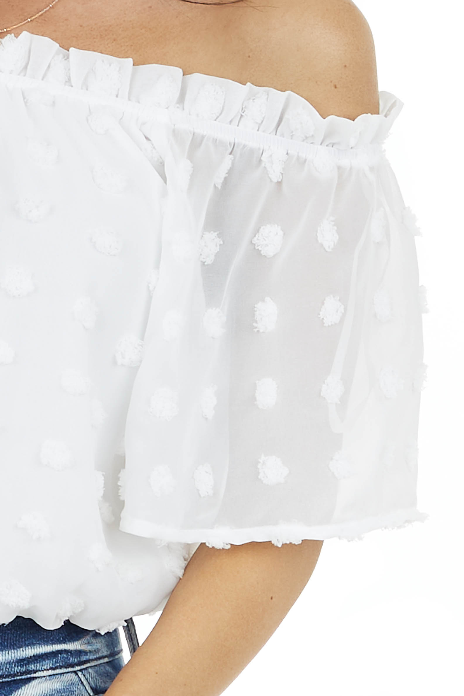 White Swiss Dot Off the Shoulder Crop Top with Elastic Hem