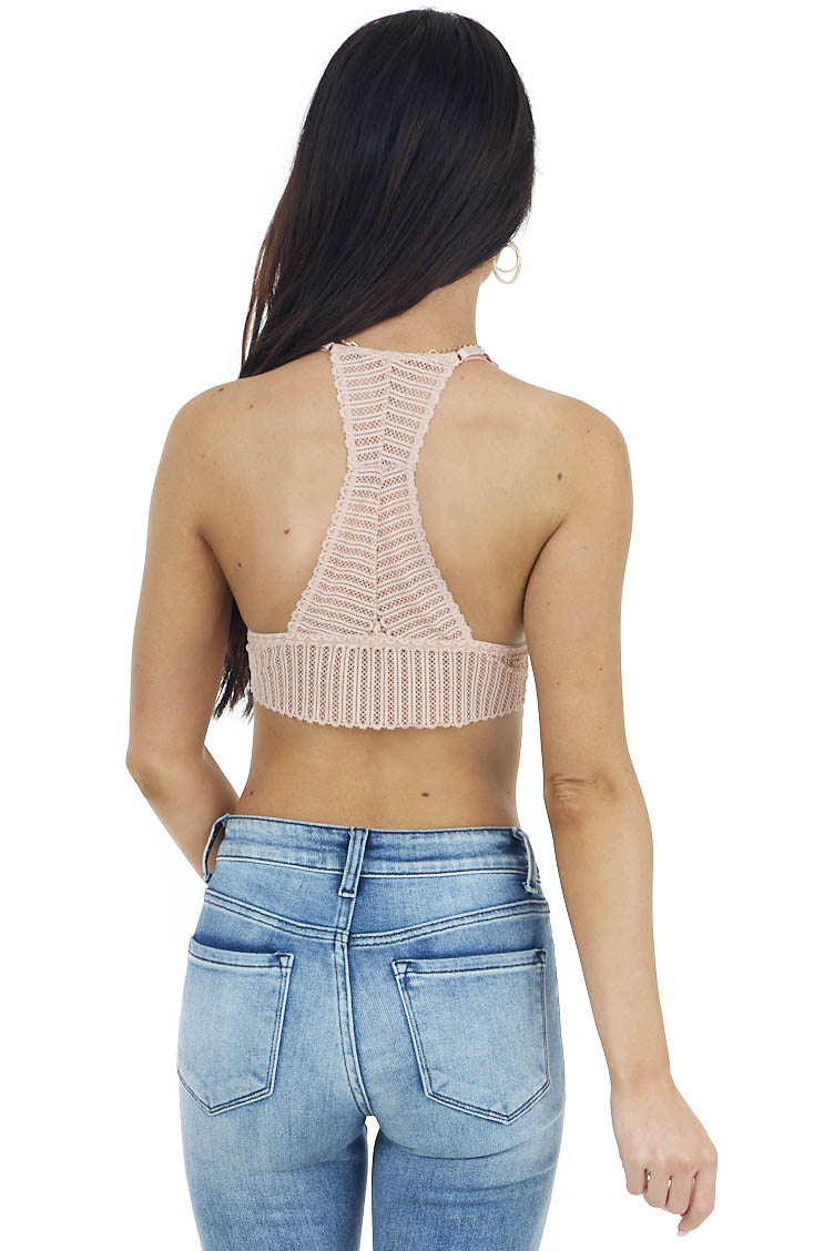 Blush Ribbed Lace Racerback Bralette with Adjustable Straps