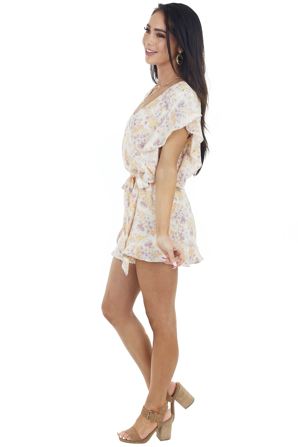 Beige Abstract Patterned Surplice Romper with Waist Tie