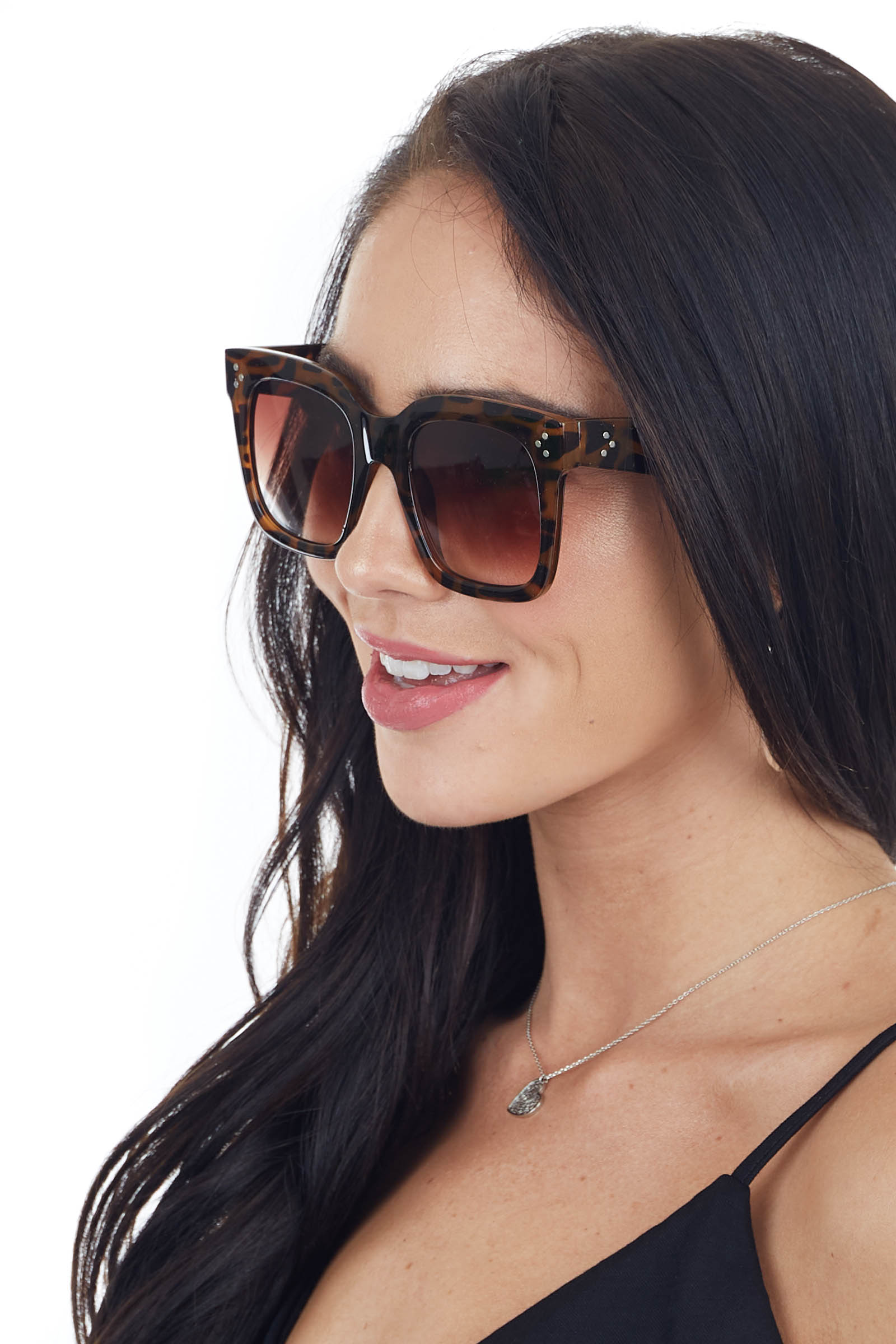 Cognac Tortoise Shell Oversized Square Sunglasses with Studs