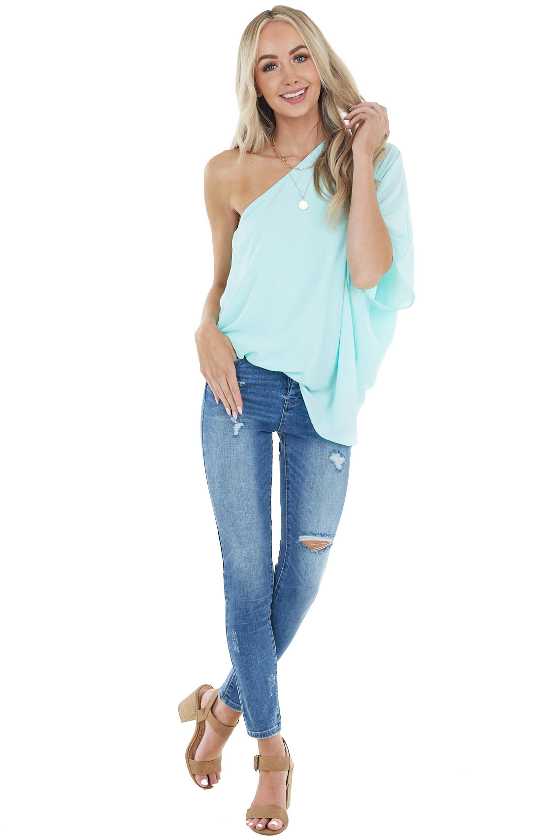 Cyan One Shoulder Flowy Sleeve Blouse with Elastic Waist