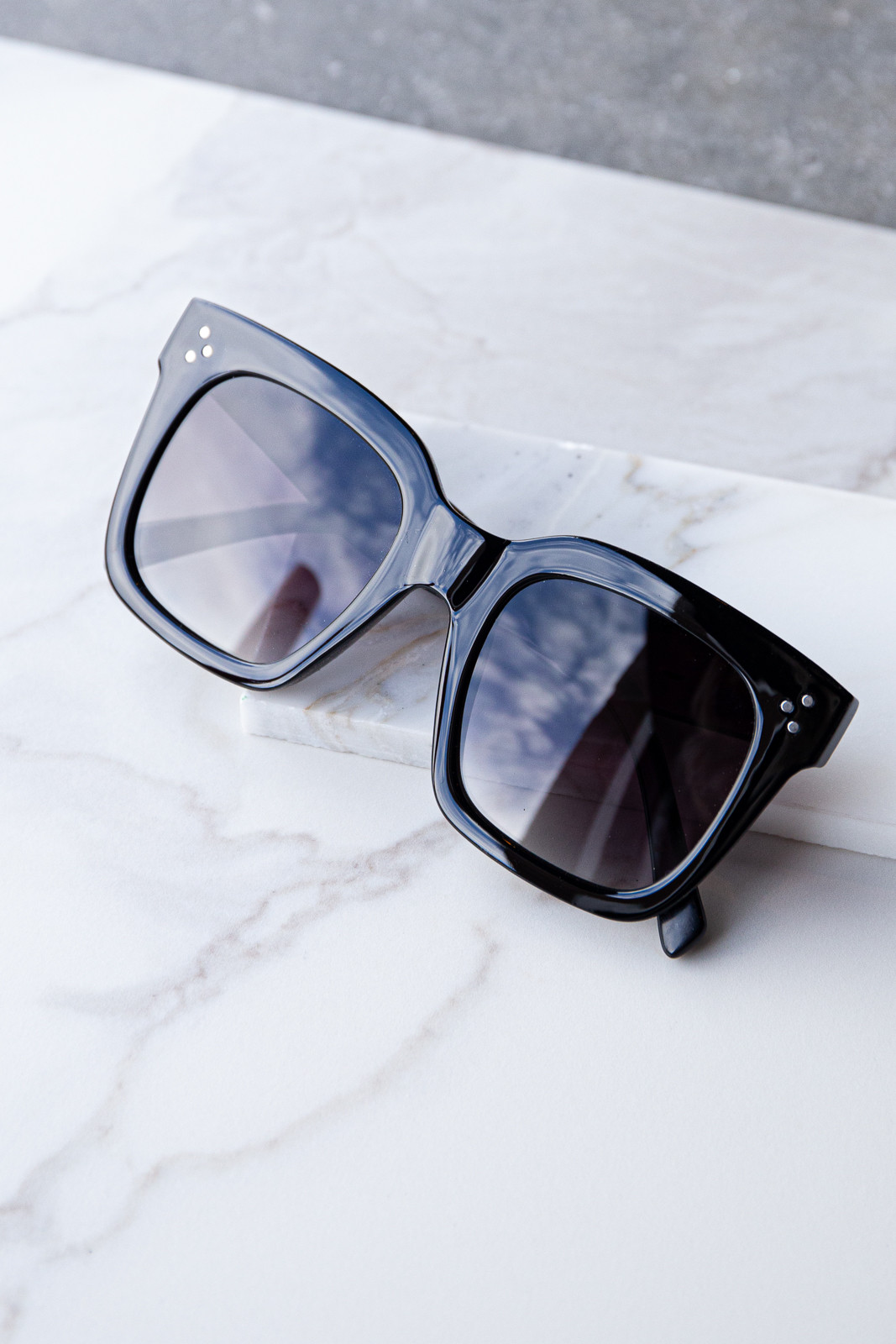 Glossy Black Oversized Square Sunglasses with Studs