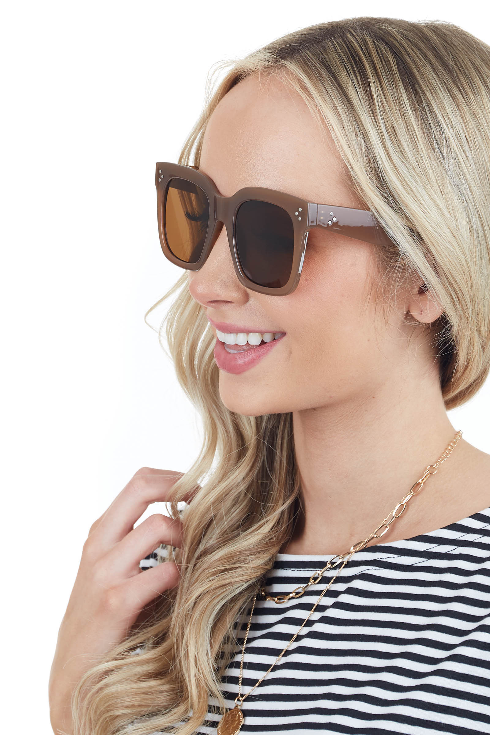 Taupe Transparent Oversized Square Sunglasses with Studs