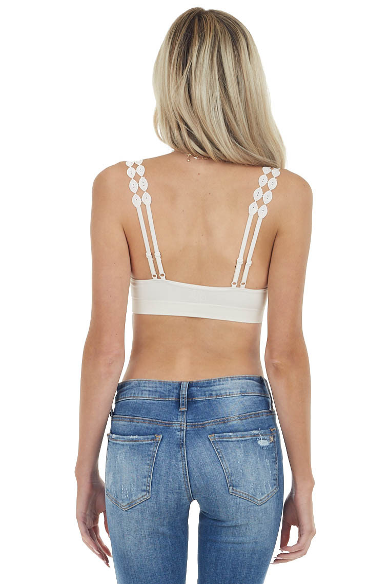 Cream Boho Lace Padded Knit Bralette with Lace Straps