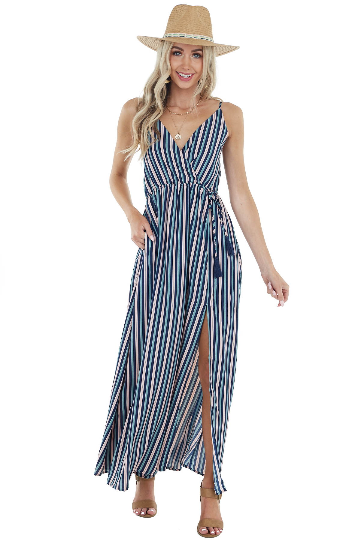 Navy Multicolor Striped Maxi Dress with Cinch Waistline