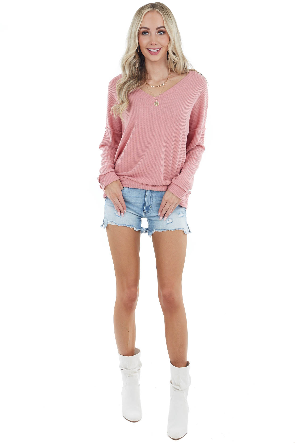 Dusty Blush V Neck Waffle Knit Top with Reverse Stitch