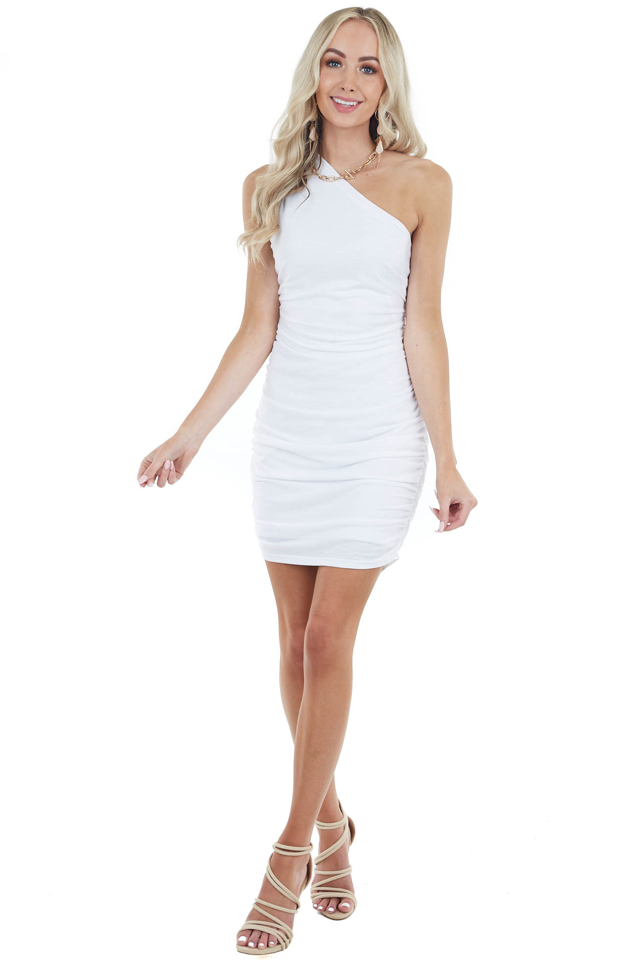 Ivory Sleeveless One Shoulder Ruched Bodycon Mini Dress