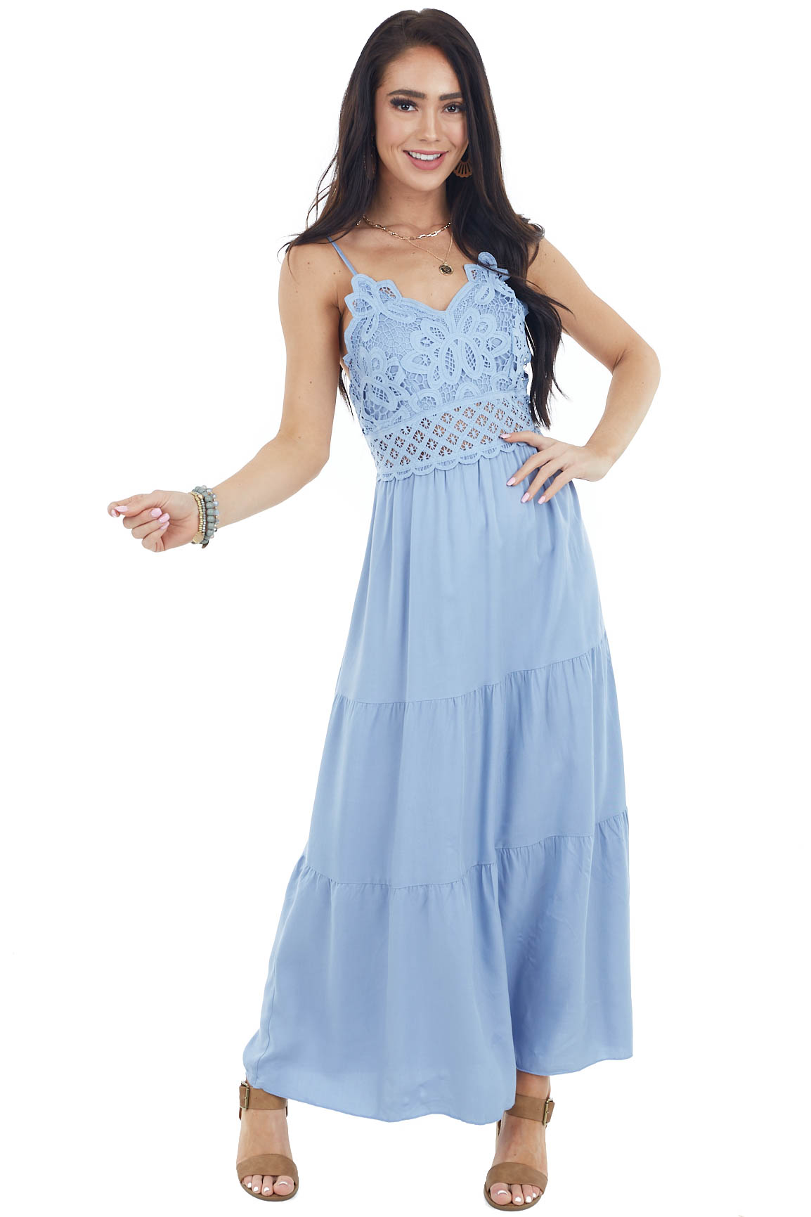 Dusty Blue Sleeveless Tiered Midi Dress with Lace Bodice