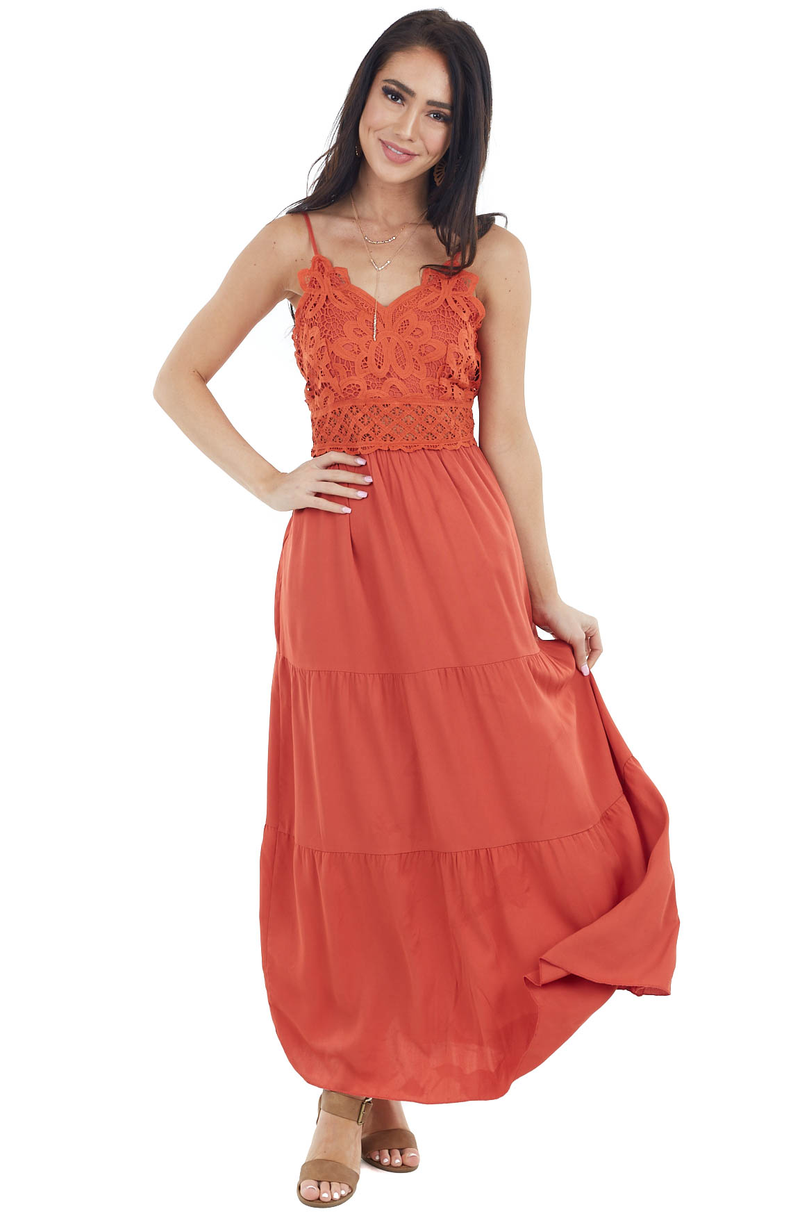 Rust Sleeveless Tiered Midi Dress with Lace Bodice
