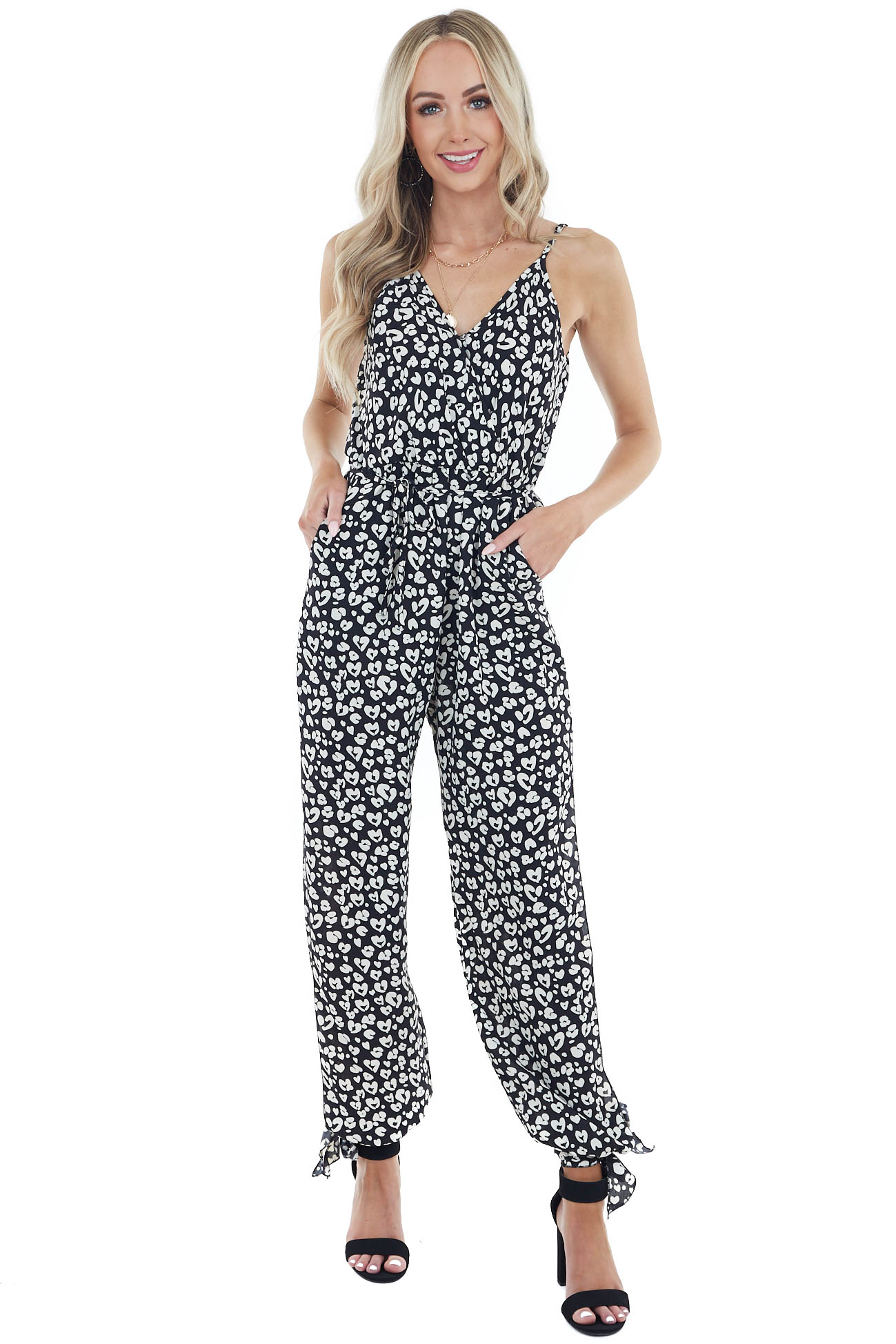 Black Leopard Print Jumpsuit with Leg Slit Detail