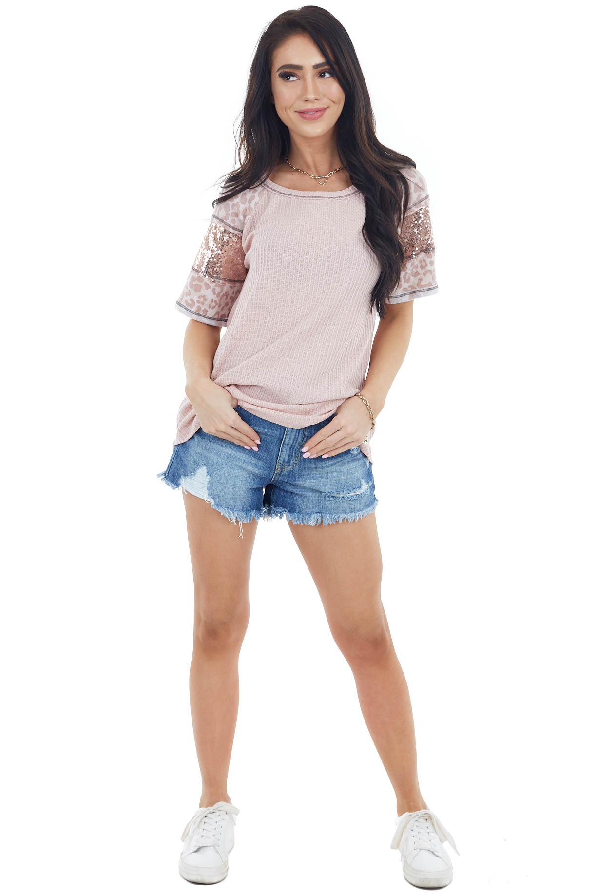 Dusty Blush Waffle Knit Top with Leopard and Sequin Contrast