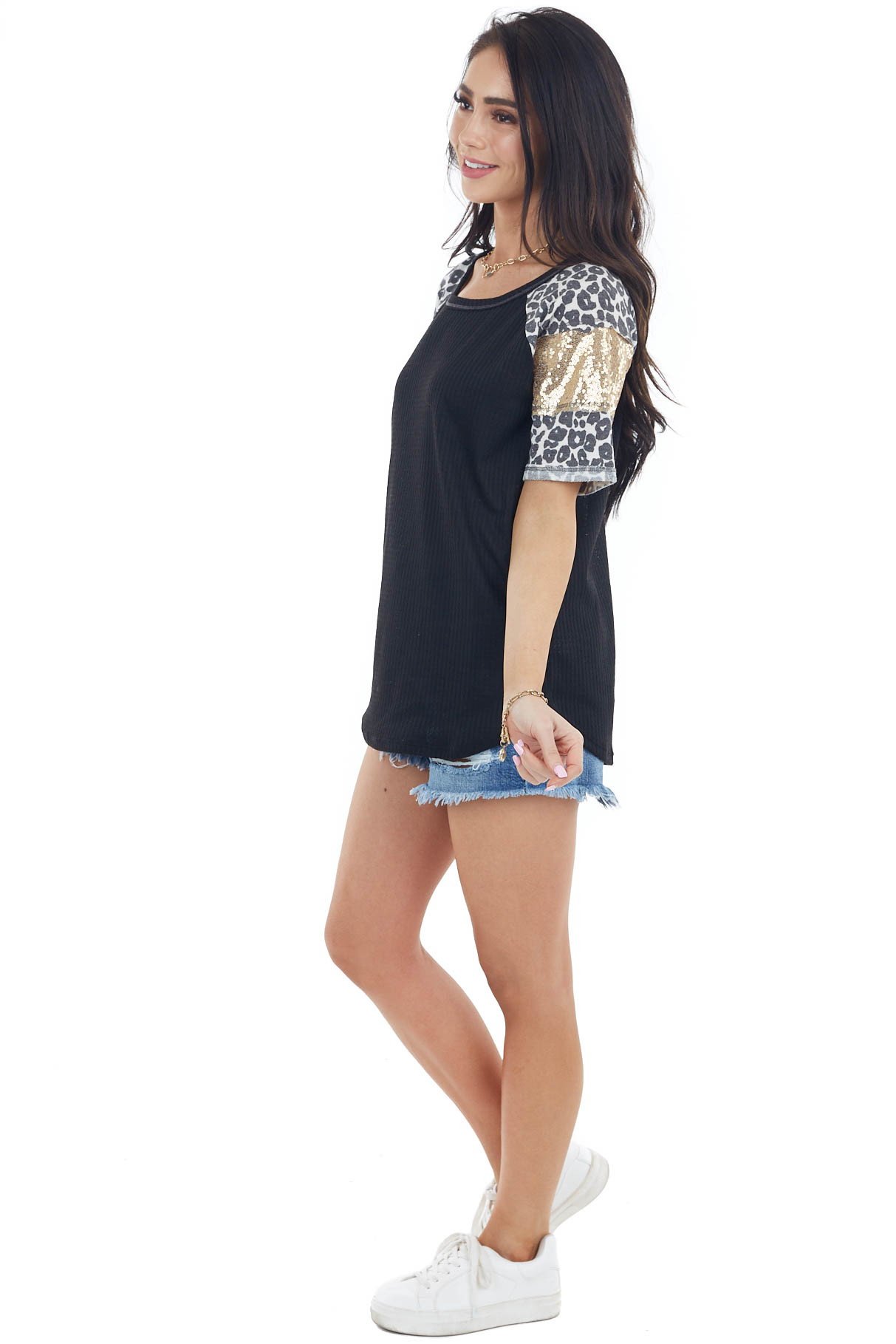 Black Waffle Knit Top with Leopard and Sequin Contrast