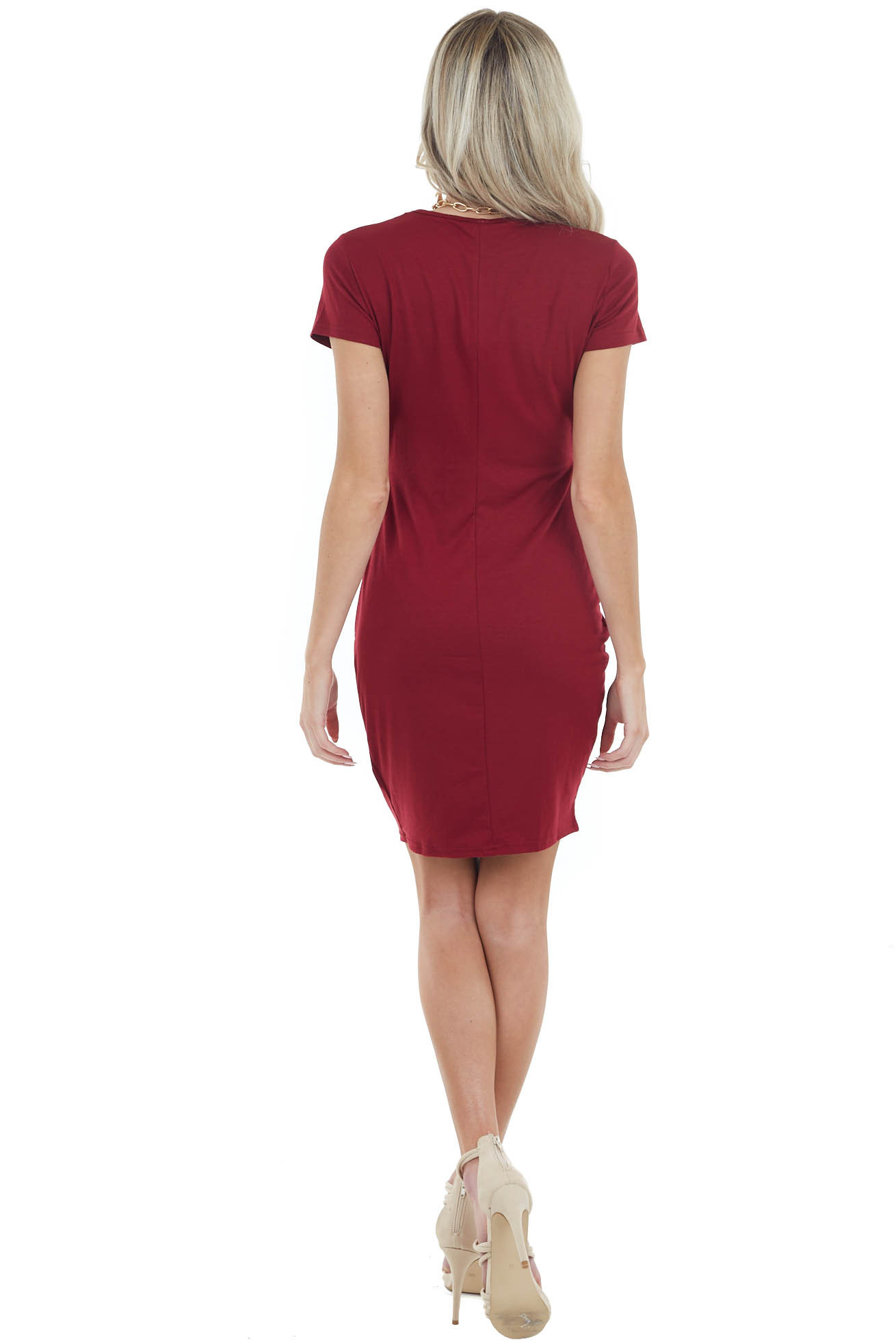 Wine Short Sleeve Bodycon Side Ruched Dress with Side Slit
