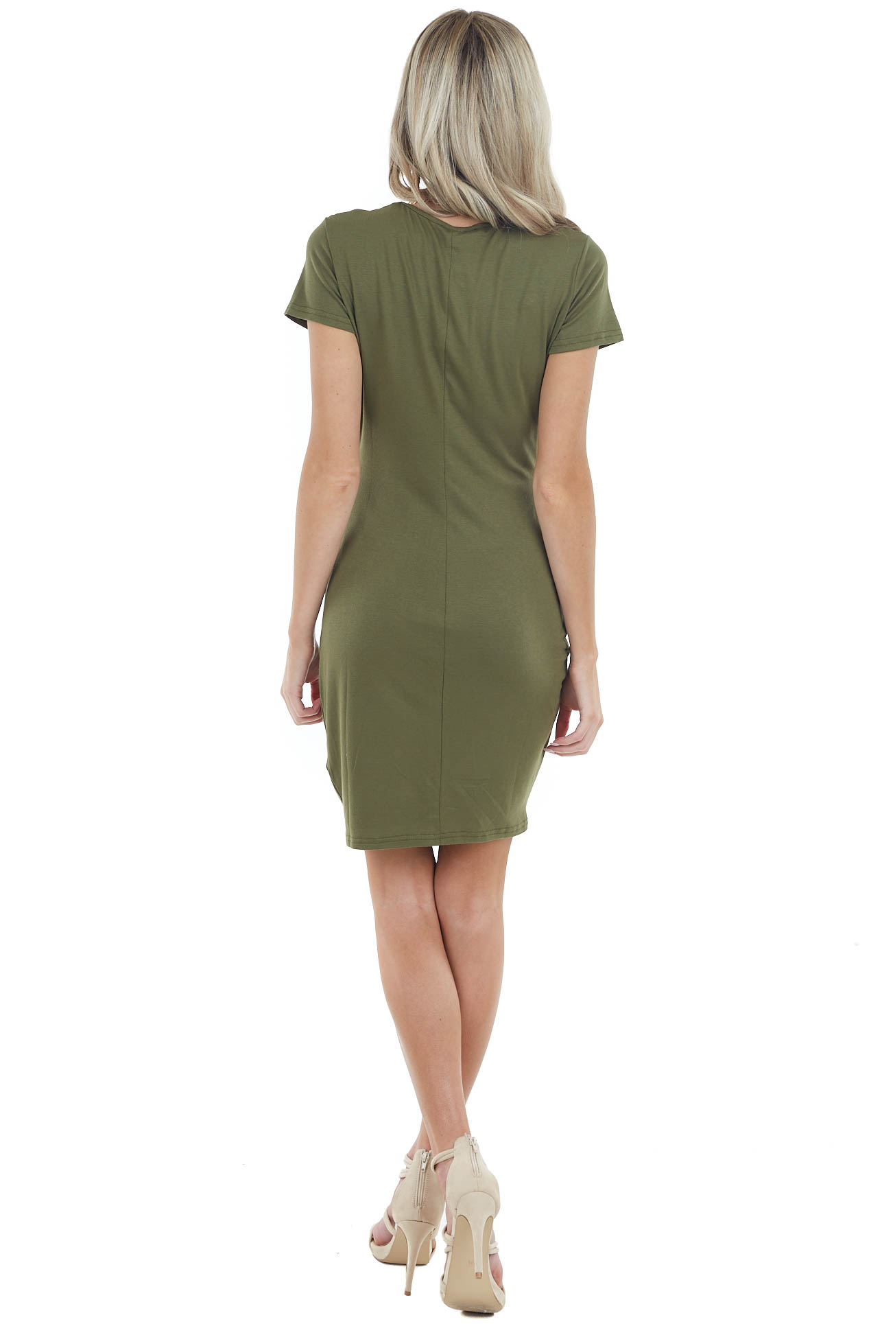 Olive Short Sleeve Bodycon Side Ruched Dress with Side Slit