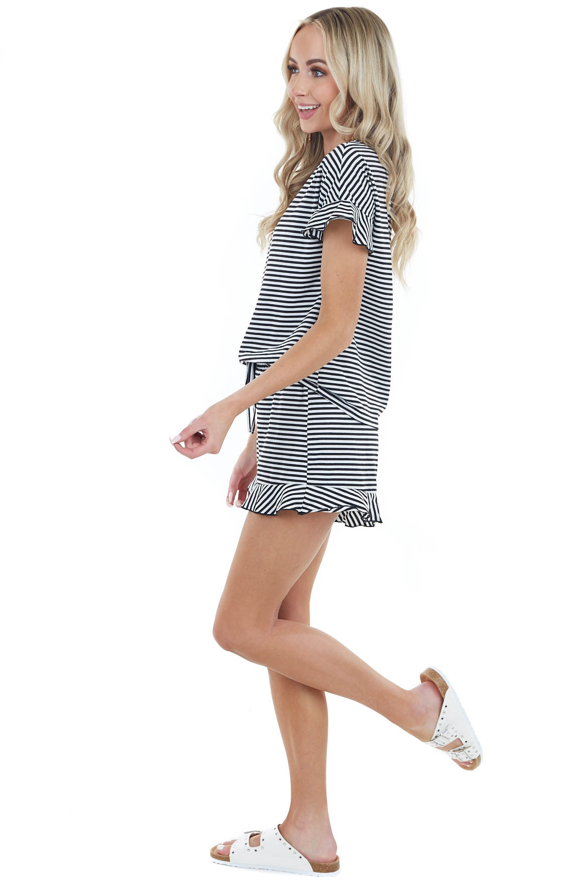Black and White Striped Top and Short Set with Ruffle Detail