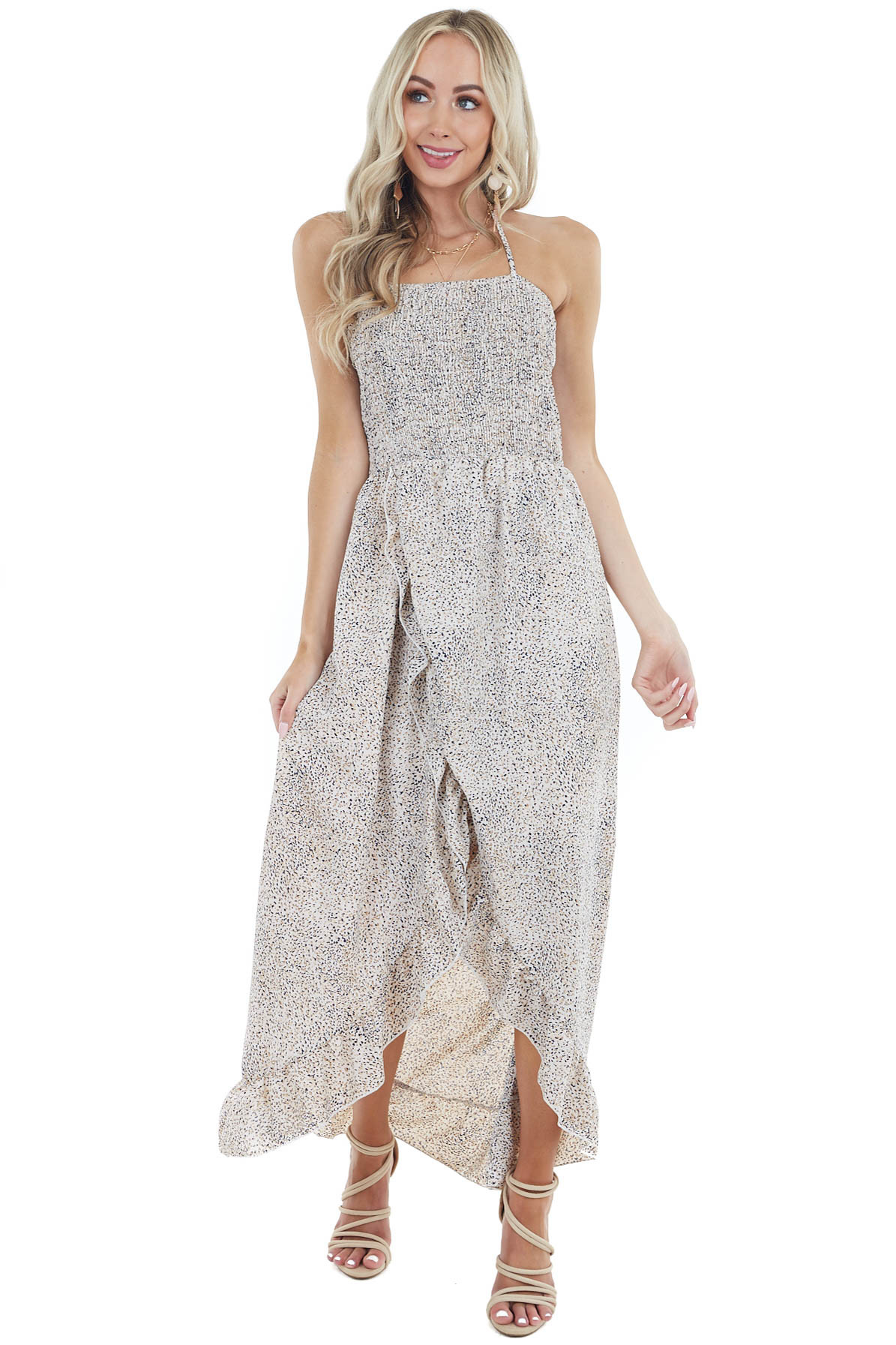 Off White Abstract Print Open Back Dress with Ruffle Detail