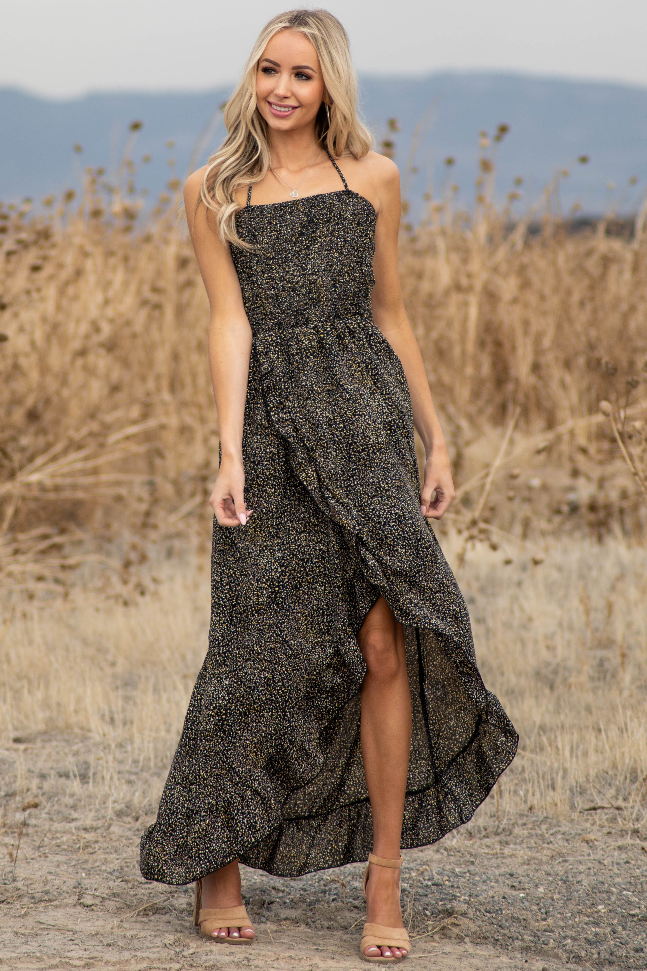 Black Abstract Print Open Back Dress with Ruffle Detail