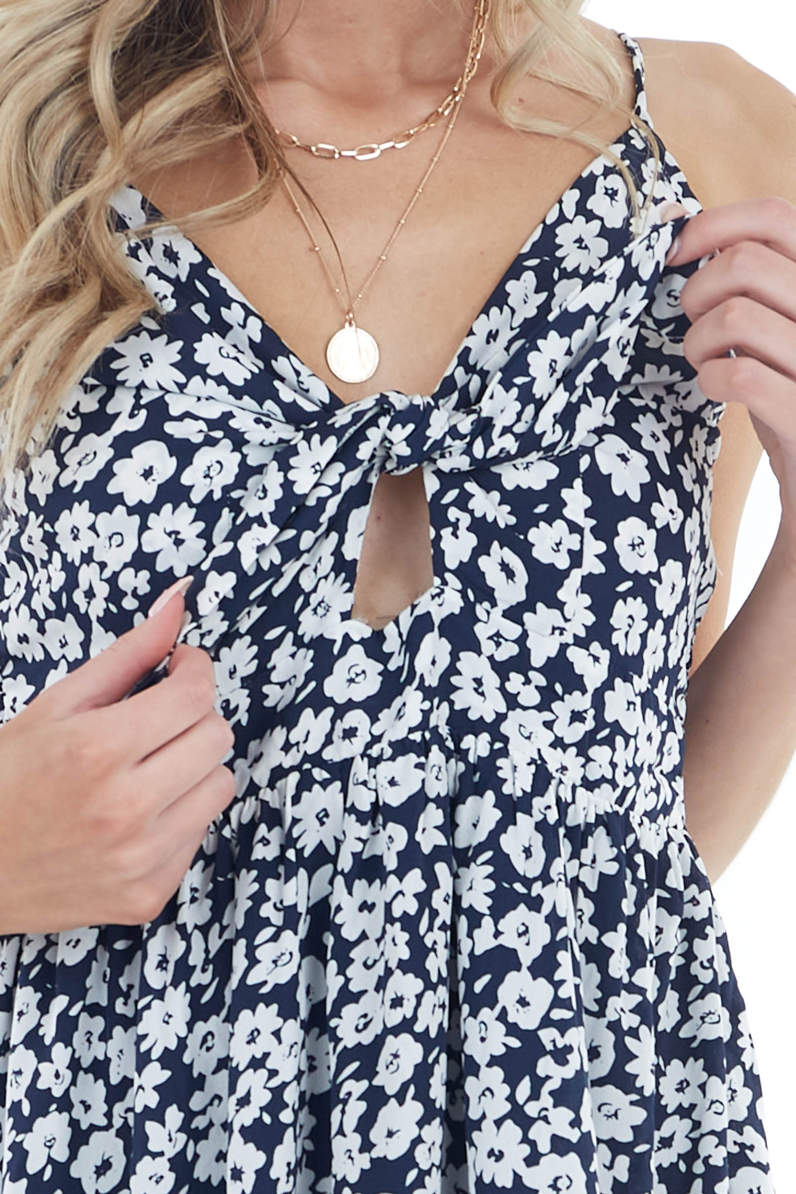 Navy Floral Print Sleeveless Short Dress with Tie Detail