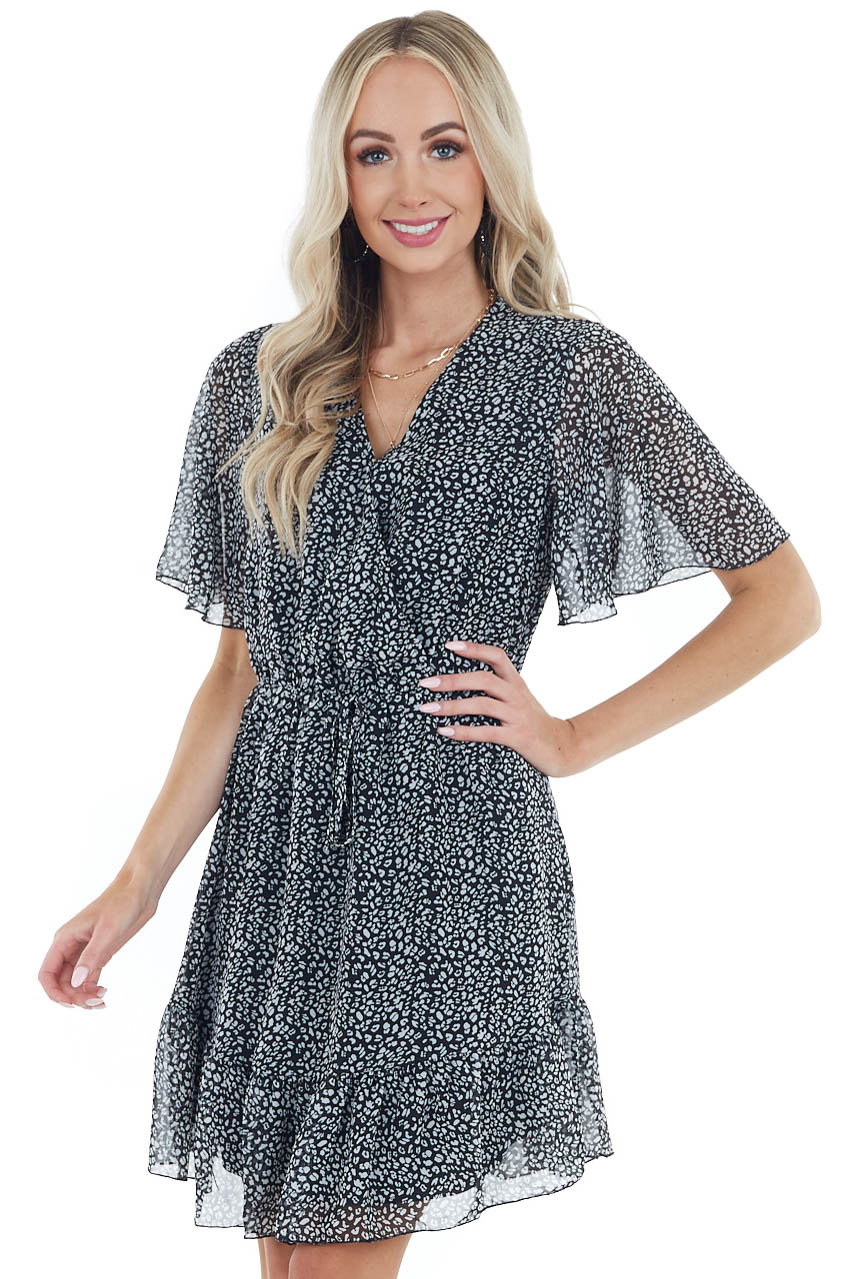 Black Leopard Print Surplice Mini Dress with Ruffle Detail