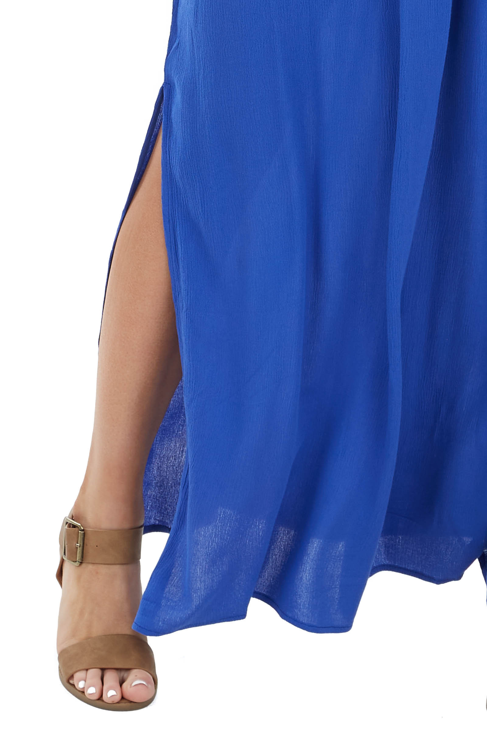 Royal Blue Short Sleeve Surplice Maxi Dress with Side Slits