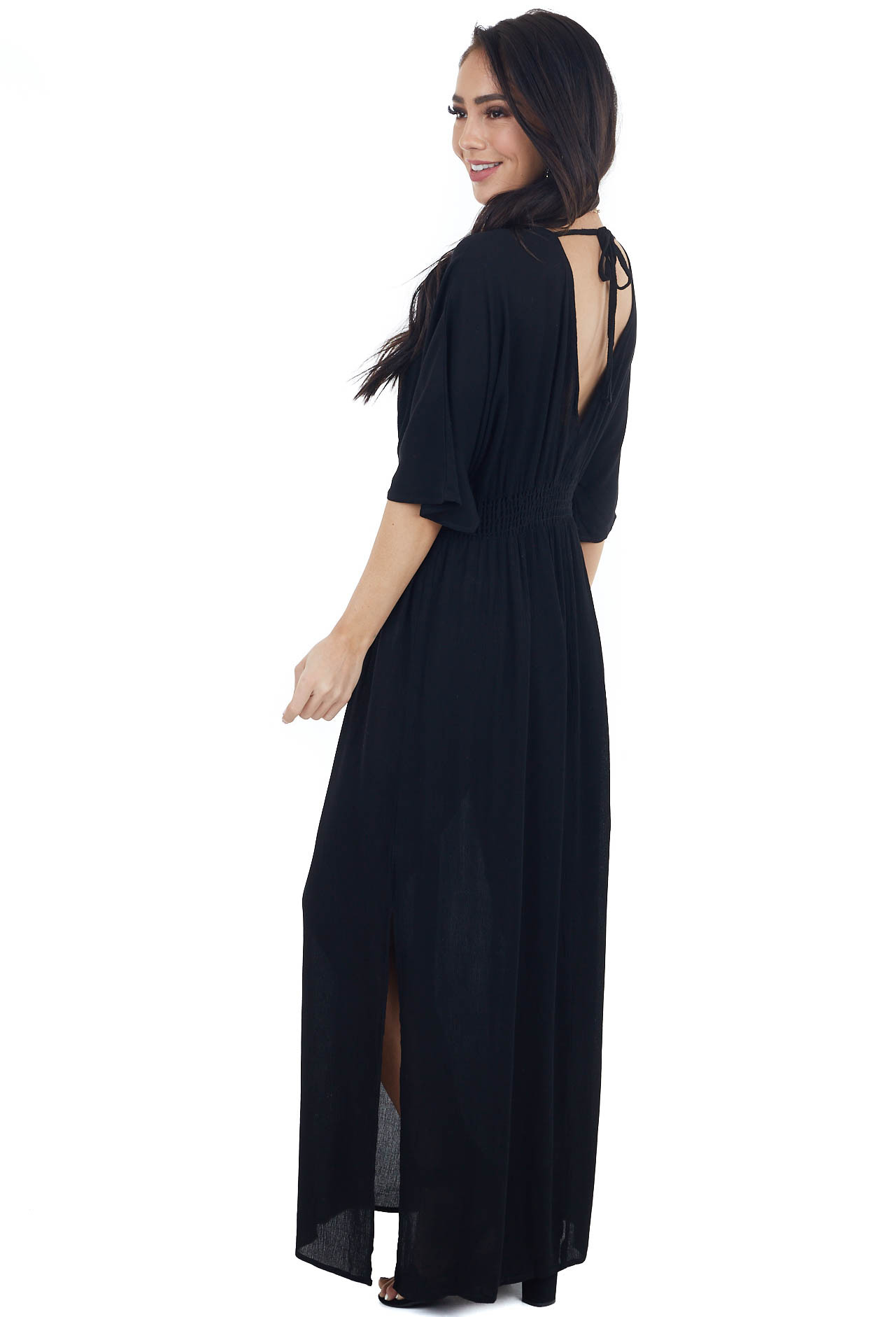 Black Short Sleeve Surplice Maxi Dress with Side Slits