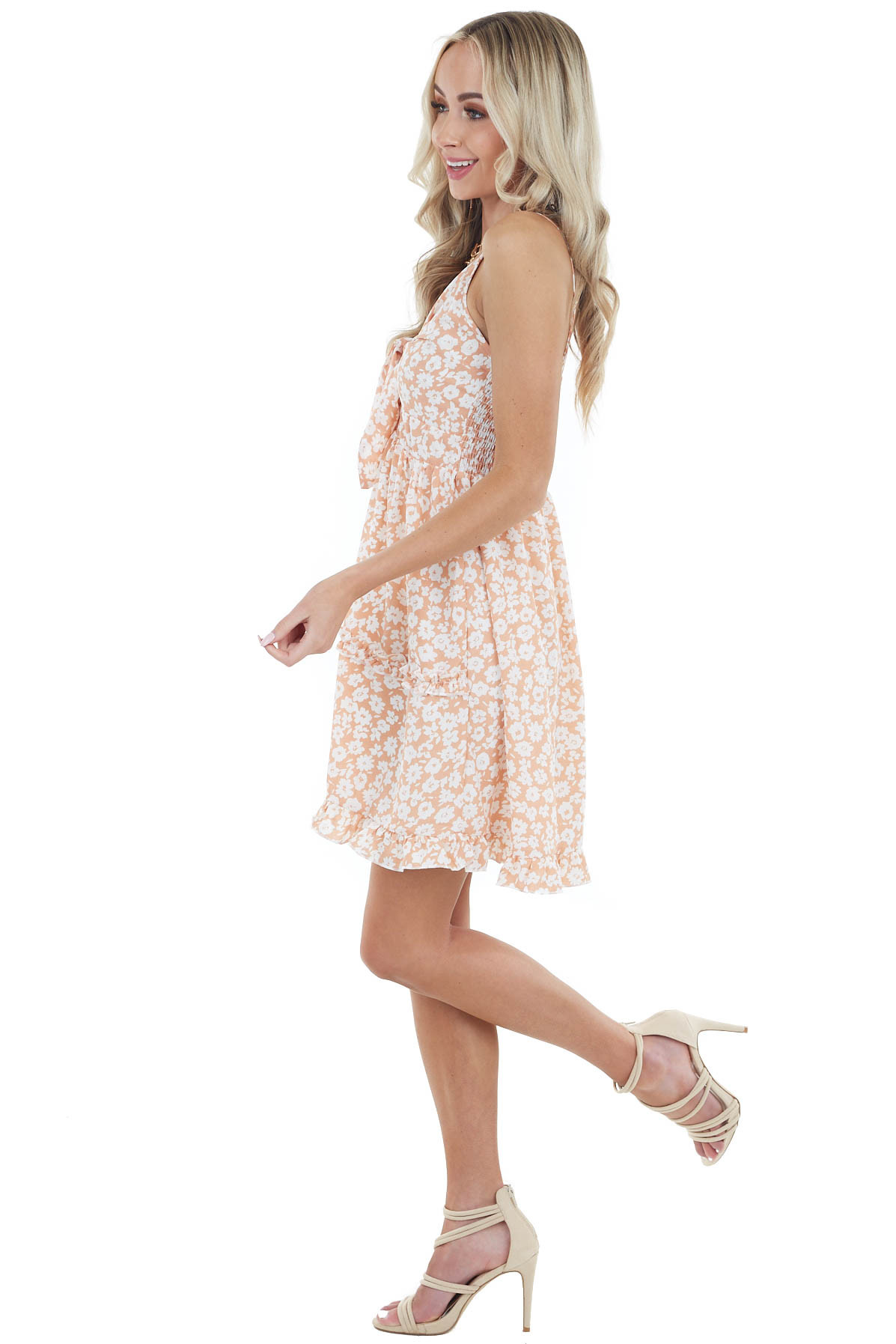 Peach Floral Print Sleeveless Short Dress with Tie Detail