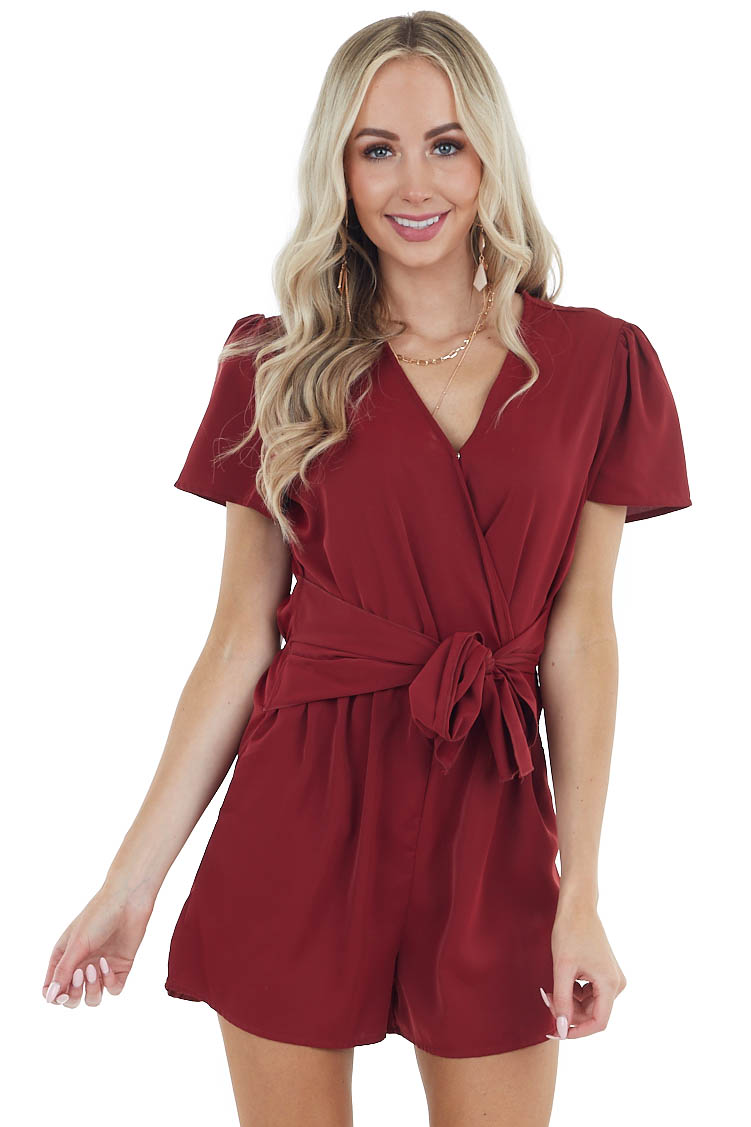 Maroon V Neckline Short Sleeve Romper with Front Tie Detail