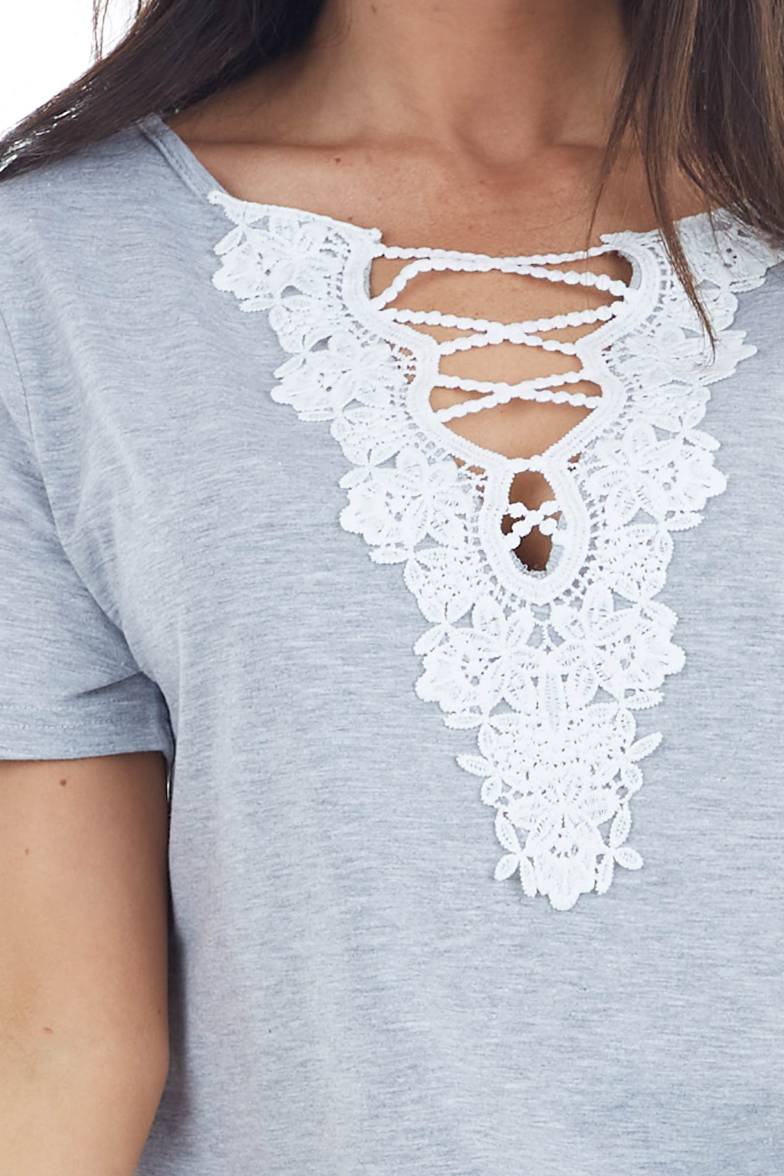 Heather Grey Short Sleeve Knit Top with Lace V Neck Detail