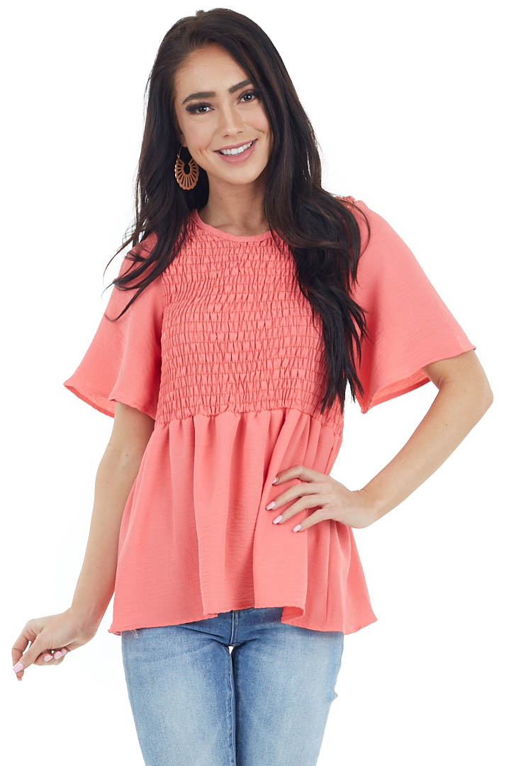 Bright Coral Short Flare Sleeve Top with Smocked Details