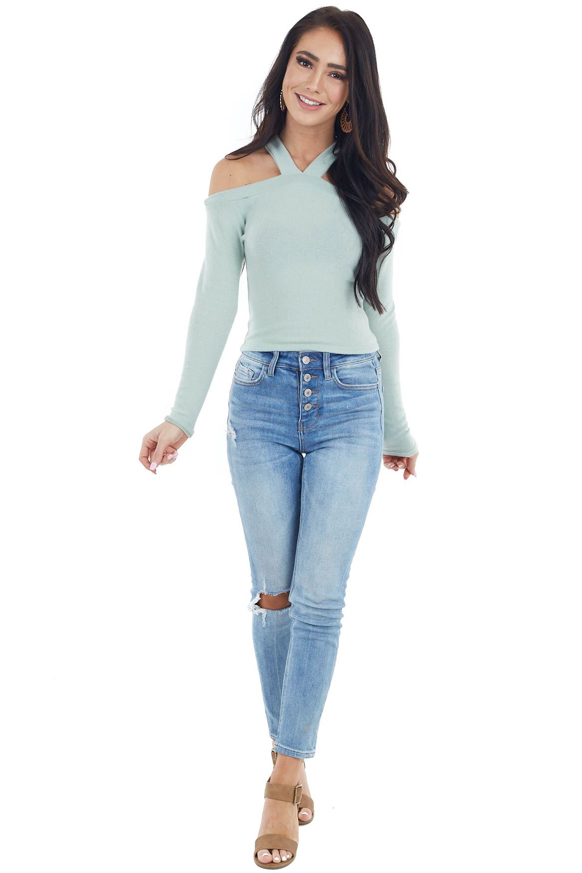Sage Halter Neck Long Sleeve Crop Top with Cold Shoulders