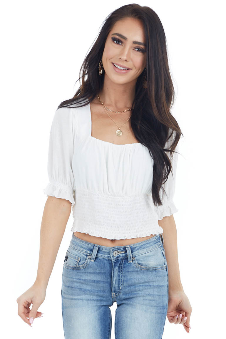 Ivory Babydoll Short Sleeve Crop Top with Smocked Detail