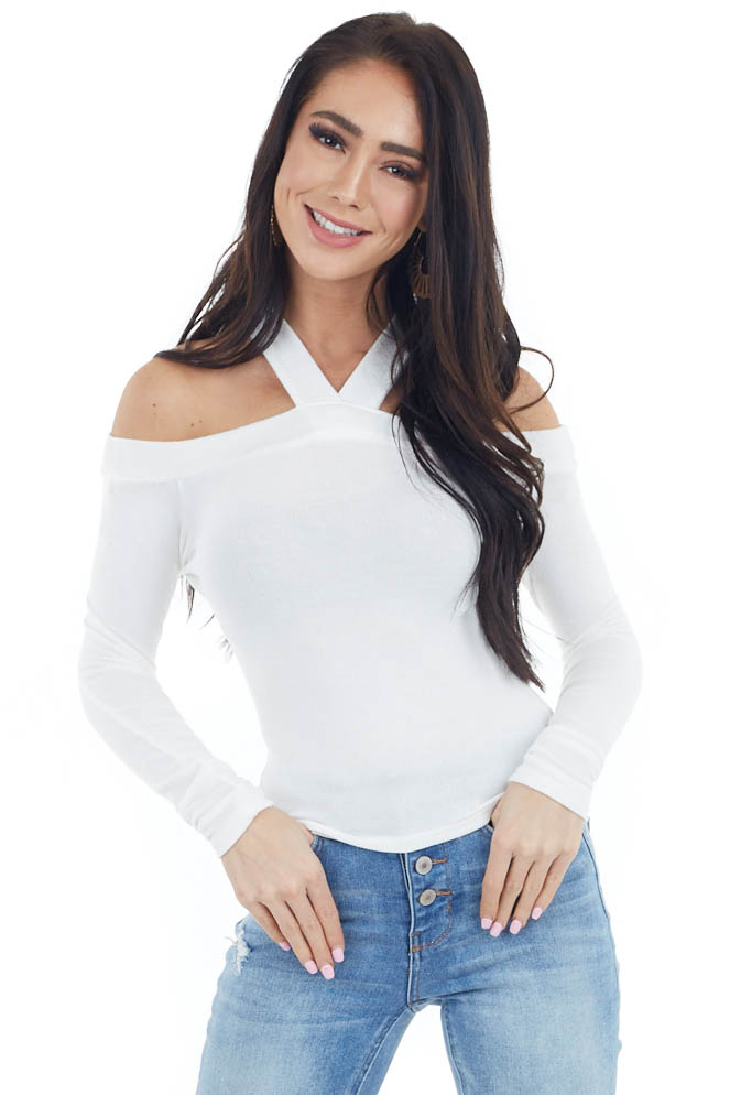 Ivory Halter Neck Long Sleeve Crop Top with Cold Shoulders
