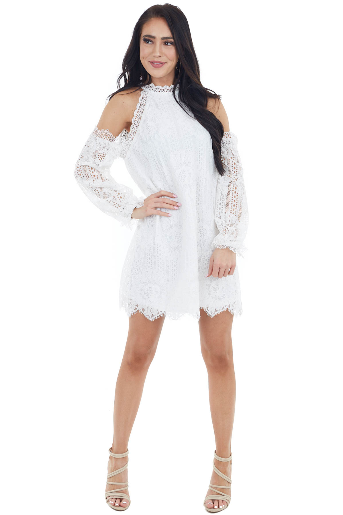 Ivory Lace Cold Shoulder Short Dress with Keyhole Back