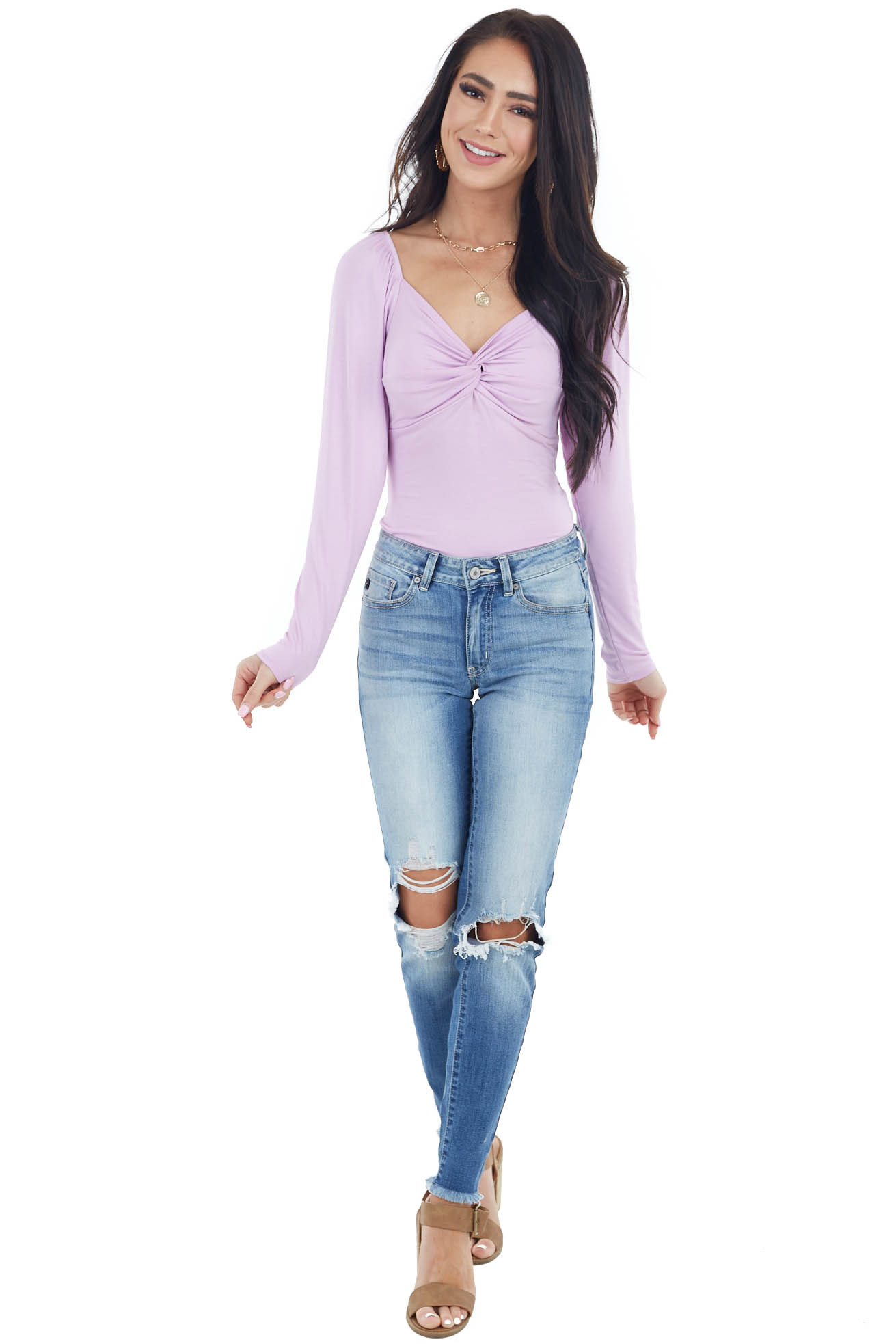 Lilac Long Sleeve Bodysuit with Front Twist Detail