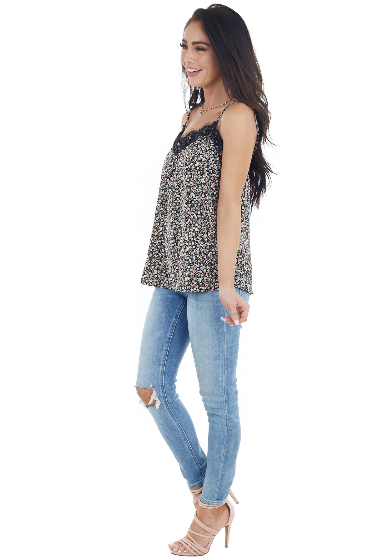 Black Floral Print Sleeveless Top with Lace Details