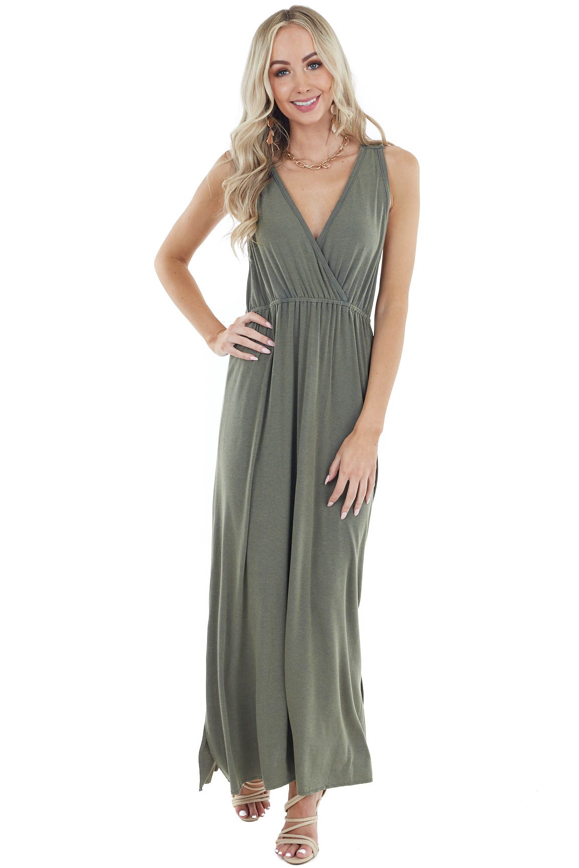 Dusty Olive Surplice Sleeveless Maxi Dress with Side Slit