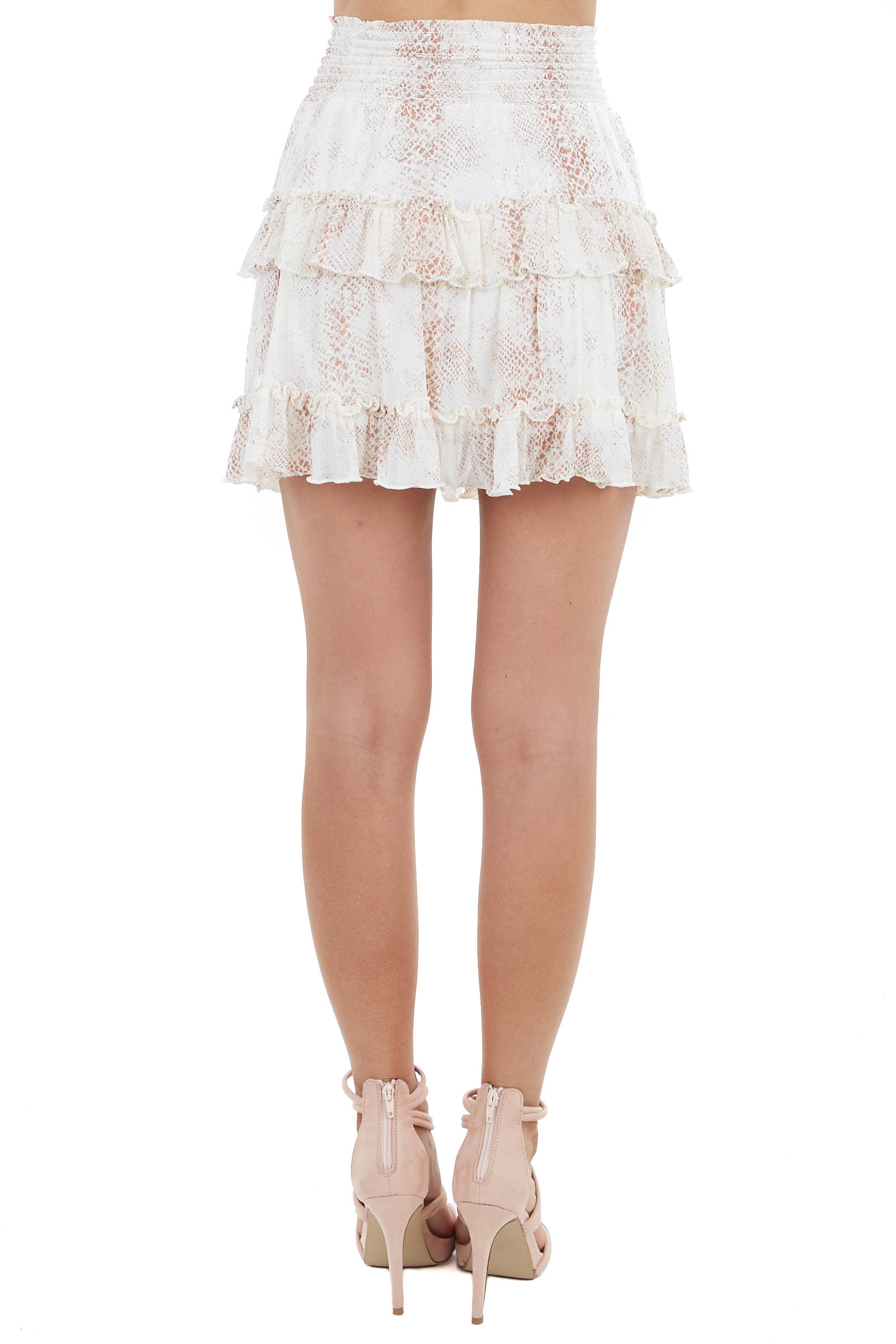 Cream and Terracotta Snake Print Tiered Skirt with Smocking