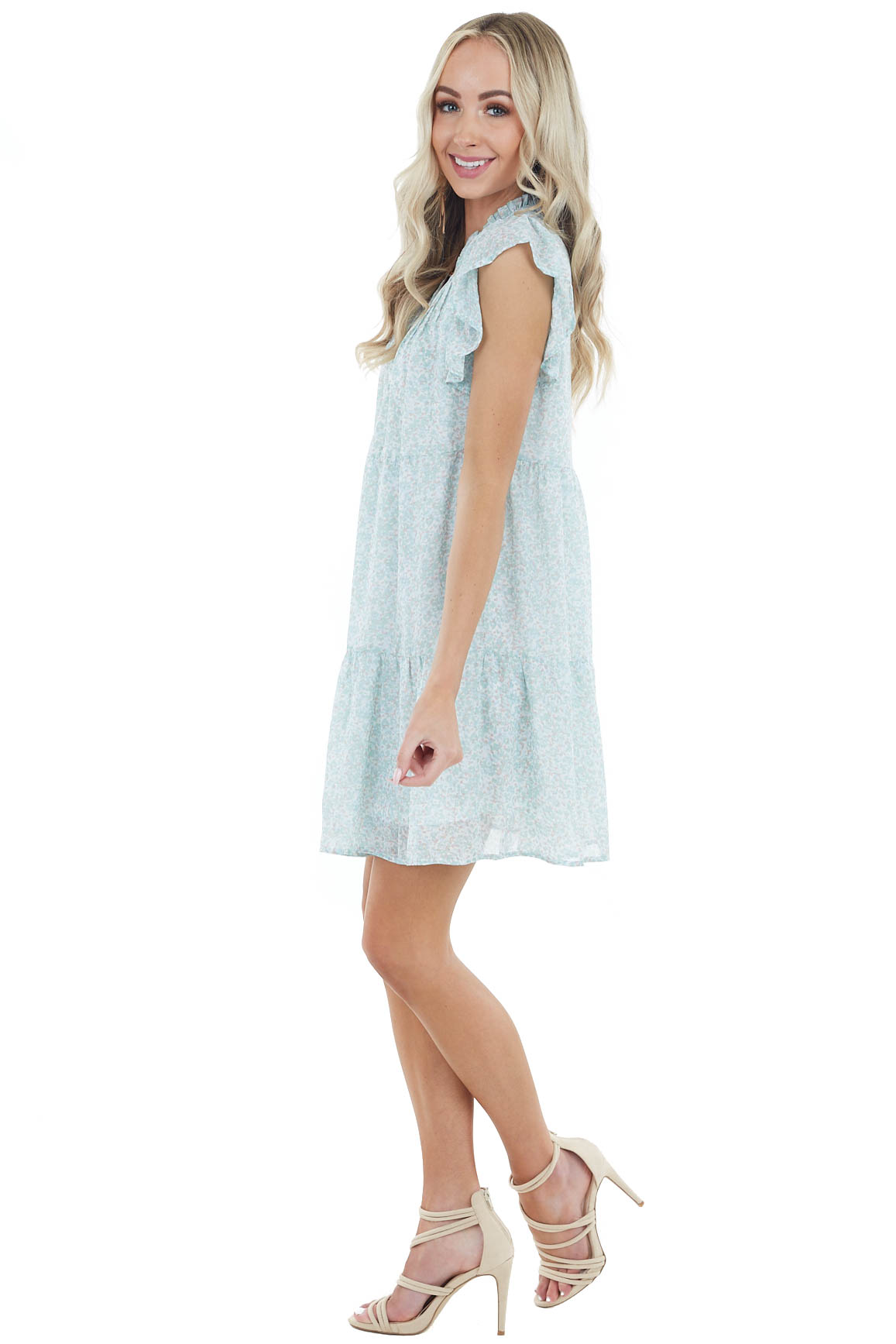 Sage Ditsy Floral Babydoll Short Dress with Ruffle Detail