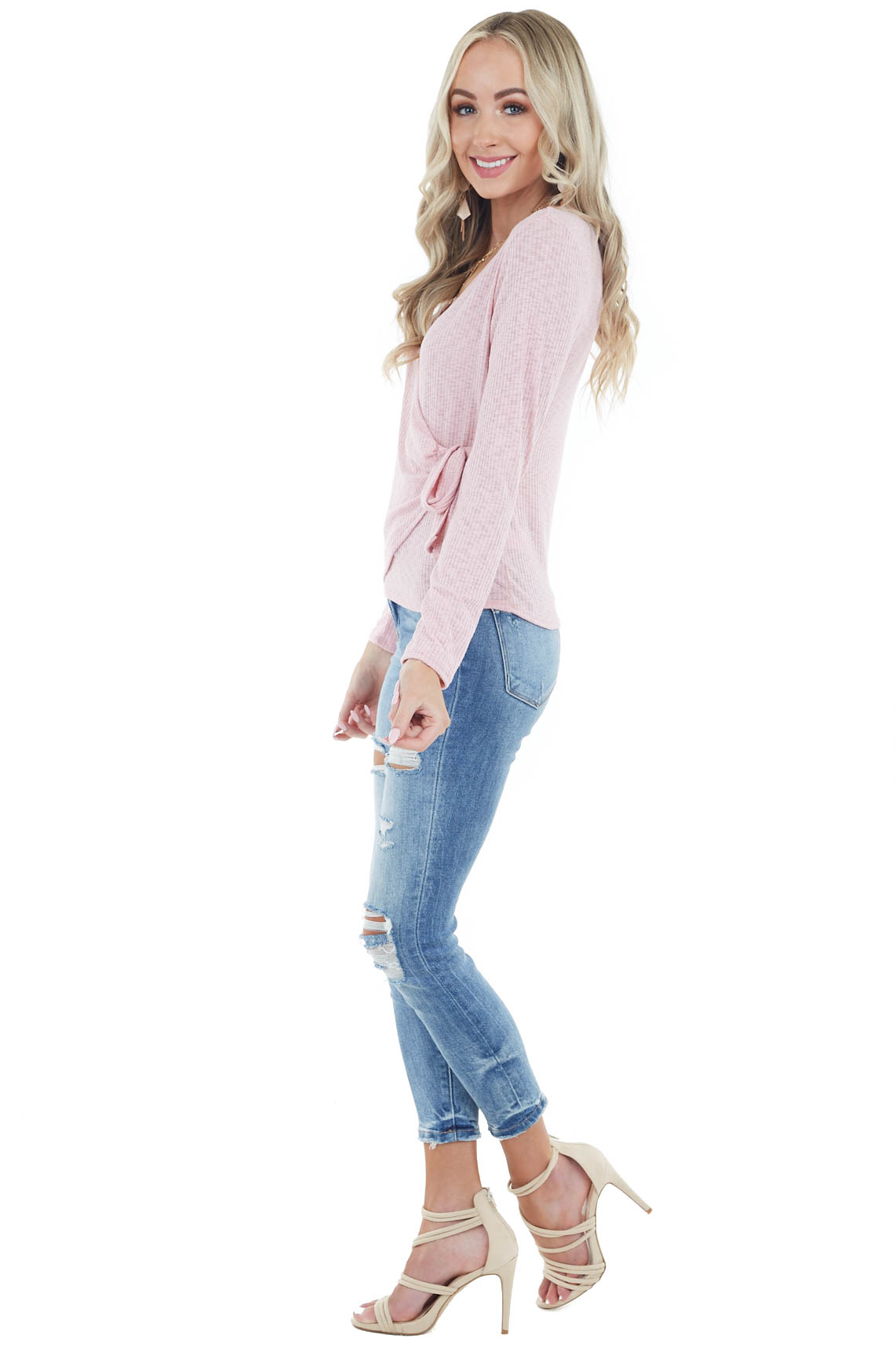 Dusty Blush Long Sleeve Surplice Top with Tie Detail