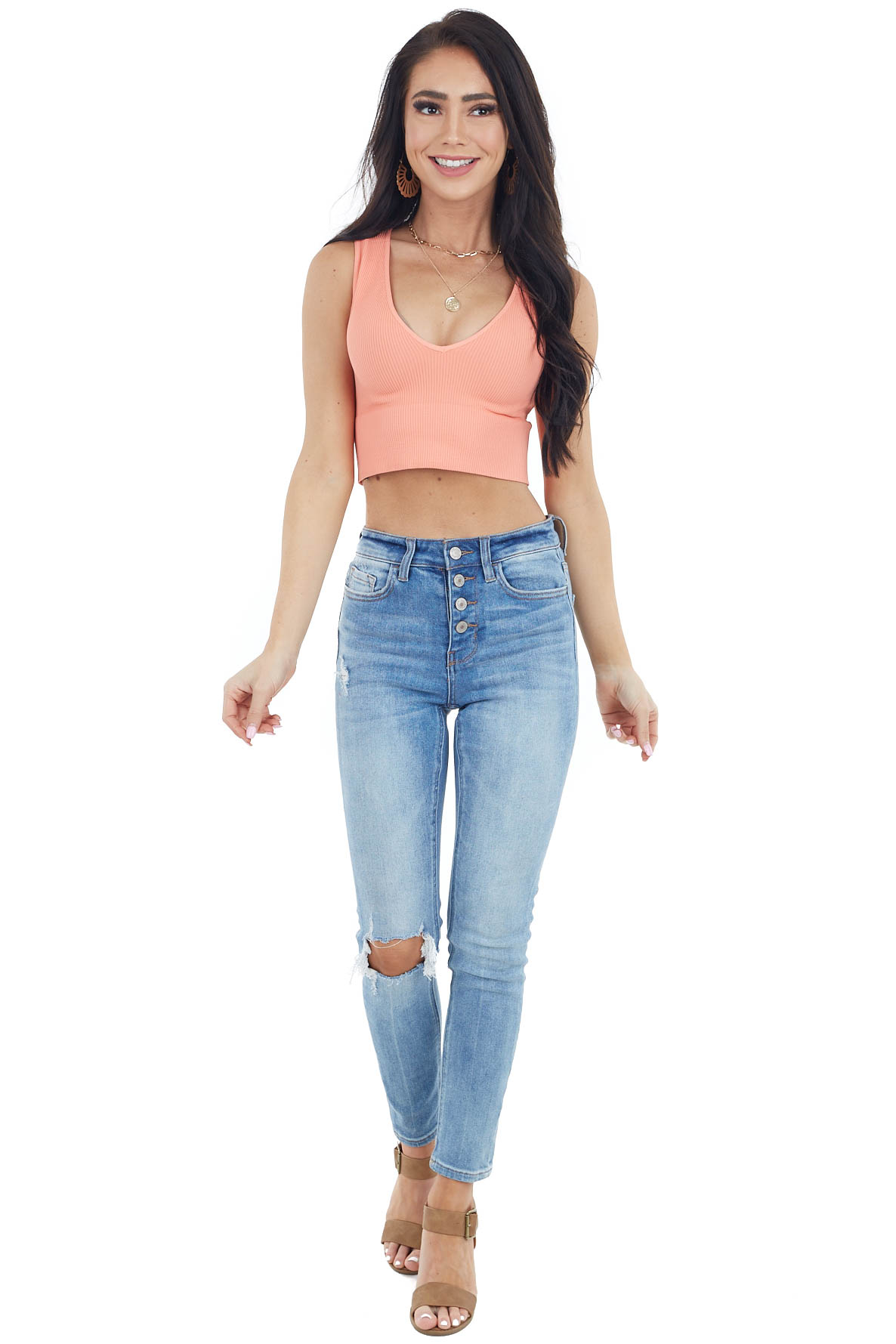 Deep Salmon Ribbed Knit Crop Top with V Neckline